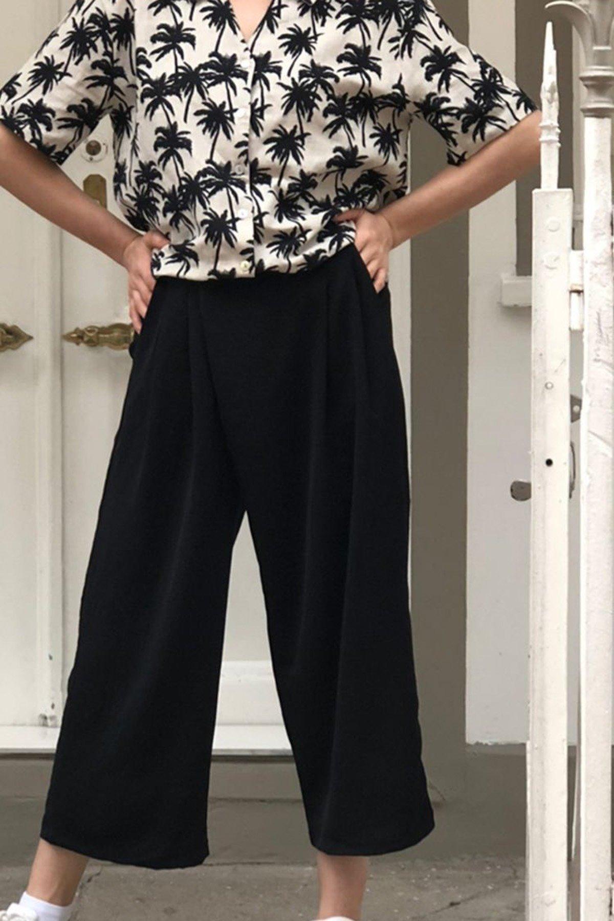 Arka Bel Lastikli Ön Pileli Pantolon
