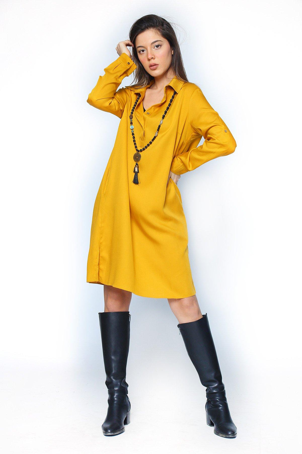Kol Apoletli Gömlek Elbise