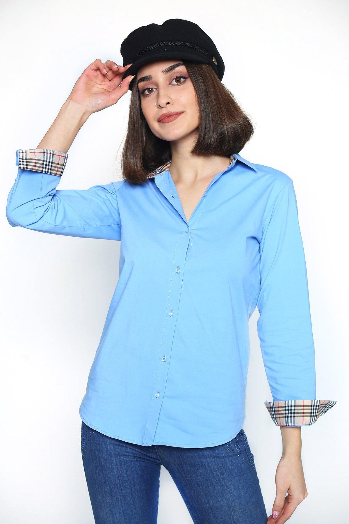 Yaka Kol Desenli Uzun Kol Gömlek