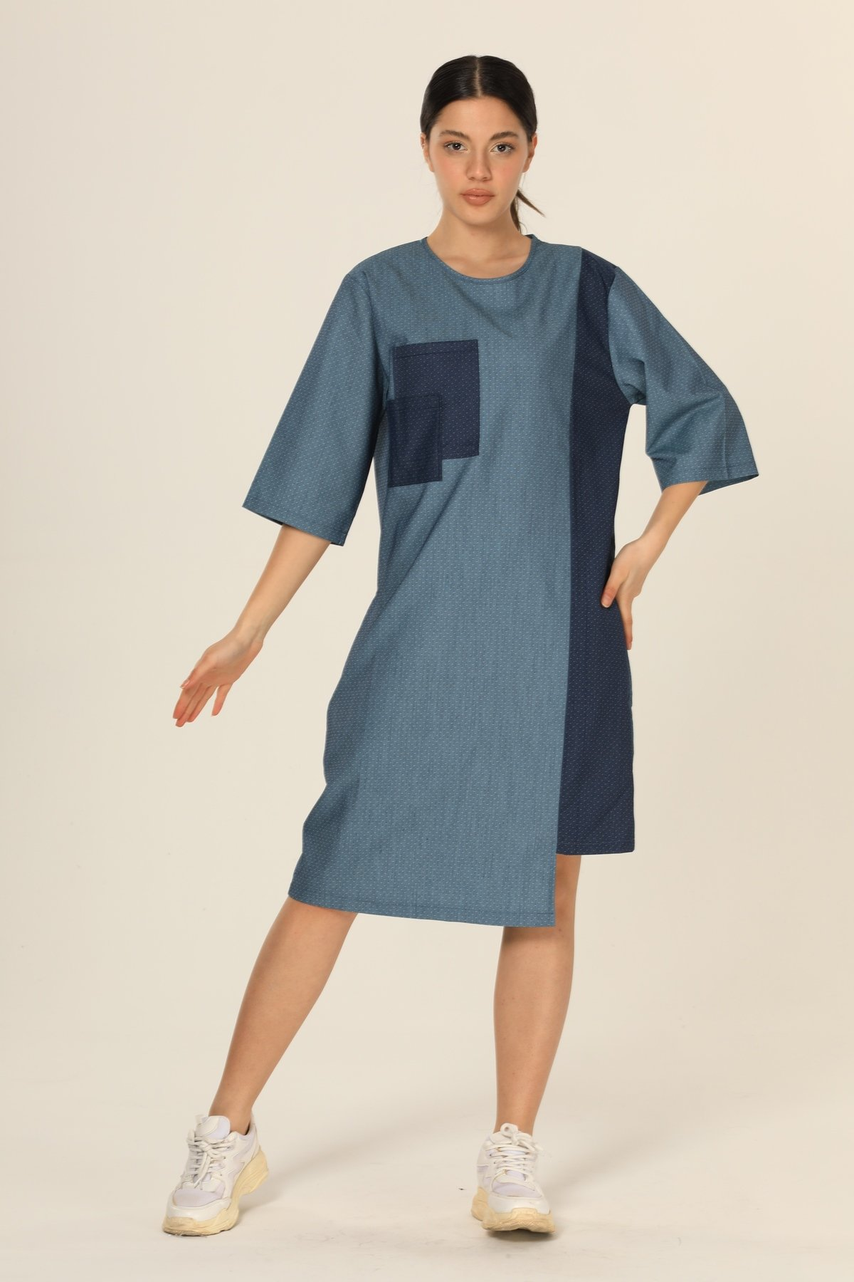 Cepli Çift Renk Elbise