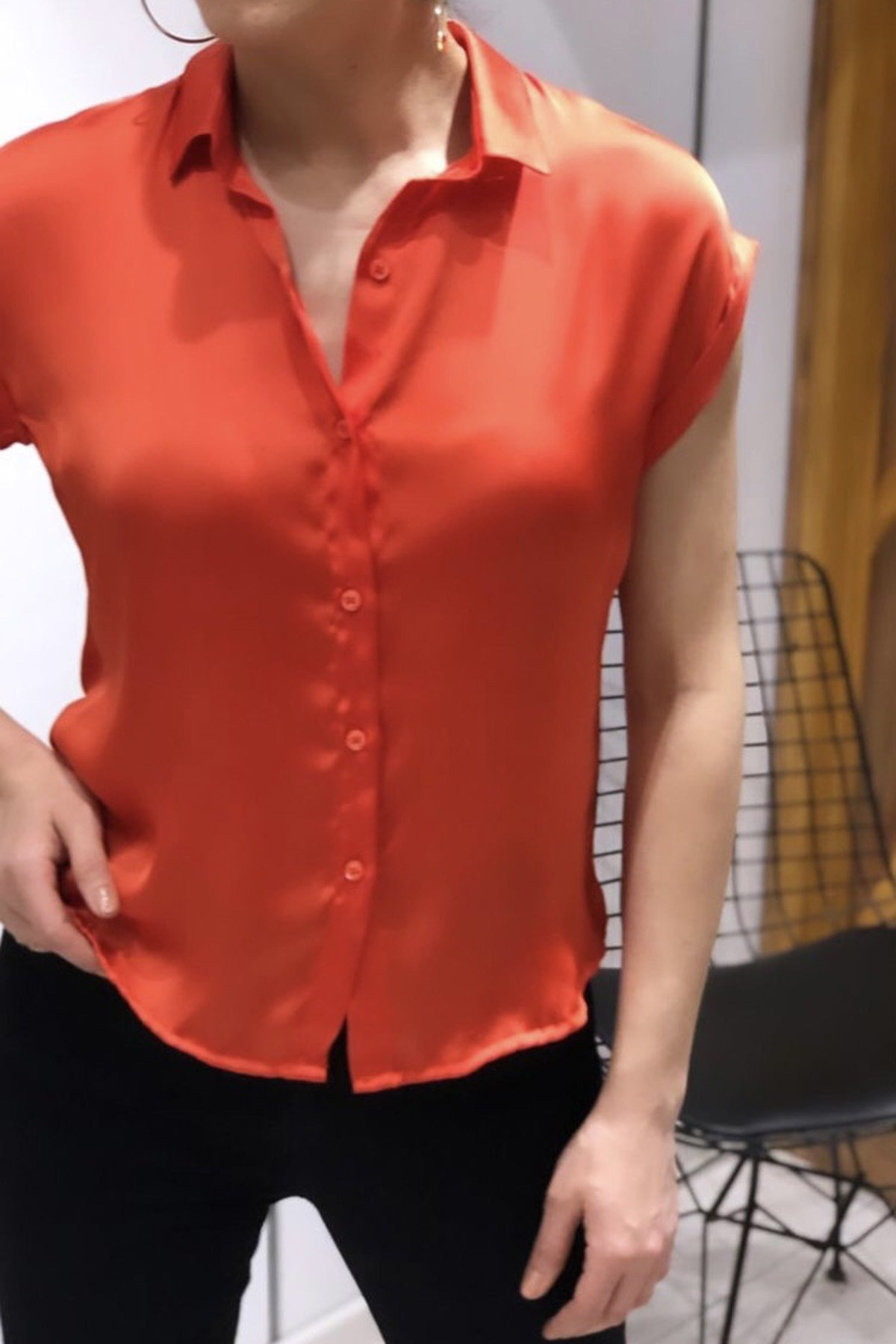 Kısa Kol Saten Gömlek