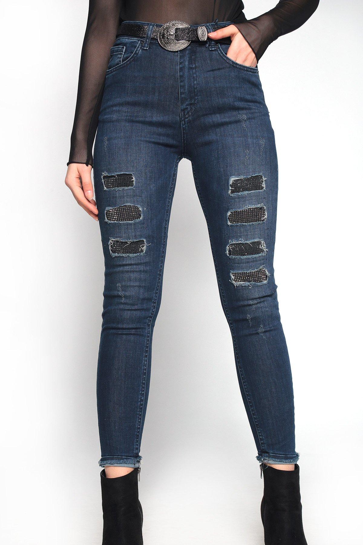 Kemerli Yıkamalı Taş Detay Jean Pantolon