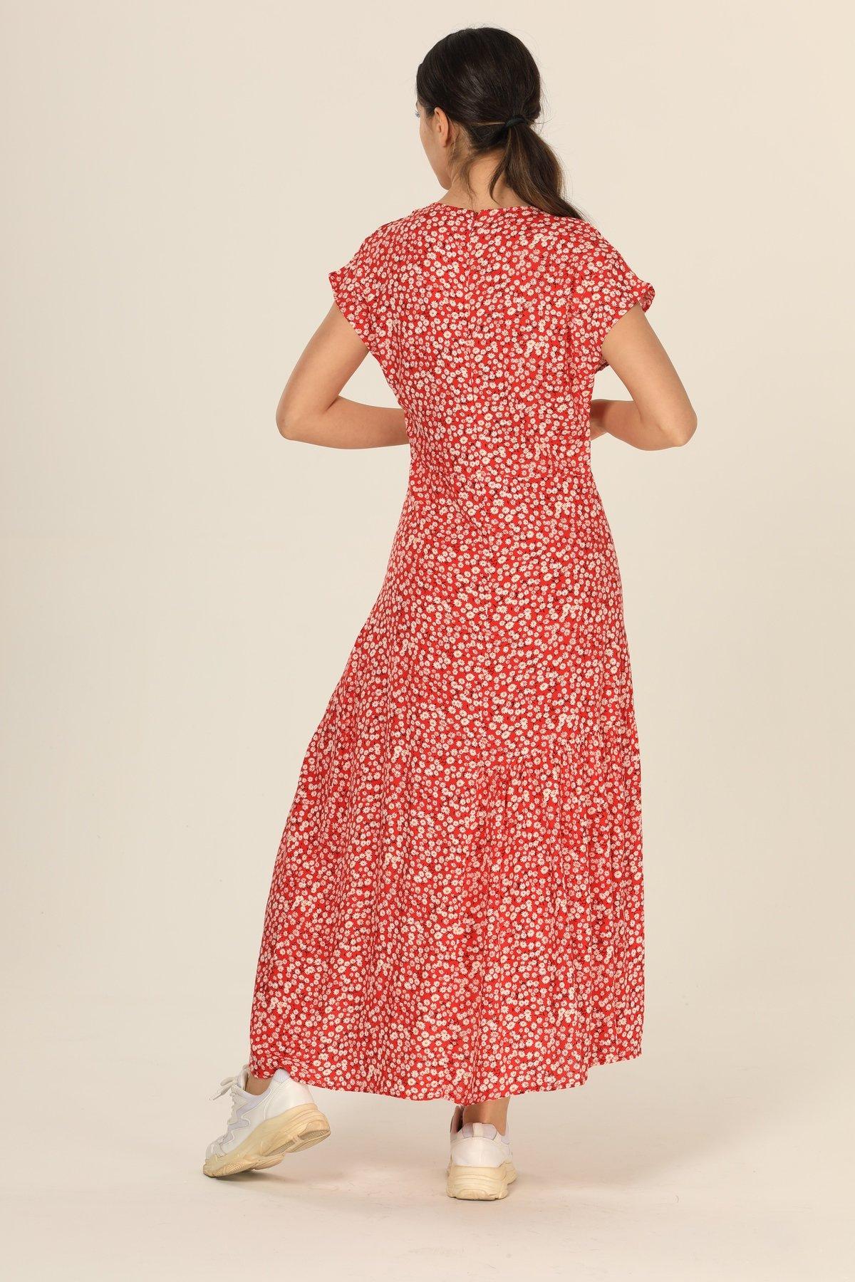 V Yaka Desenli Elbise