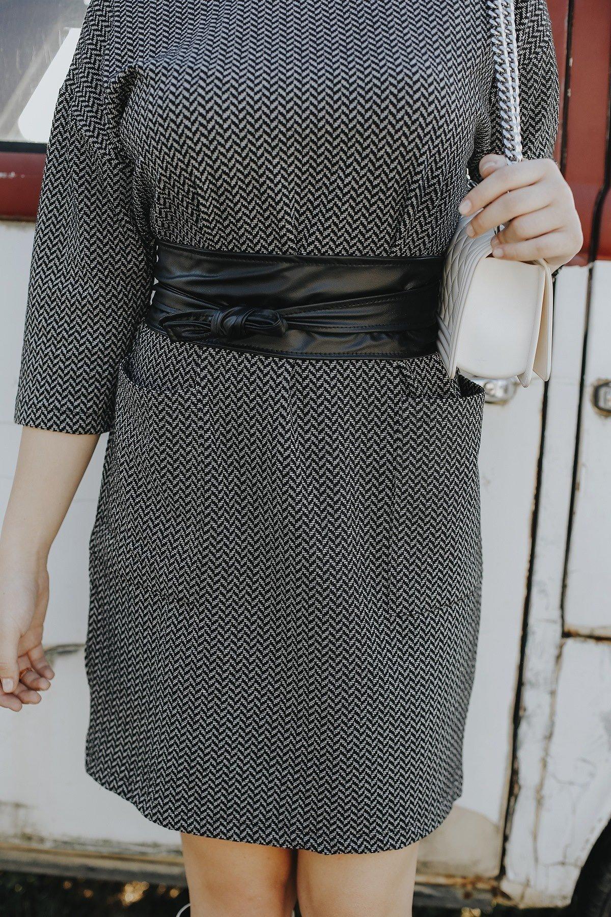 Cepli Kareli Kaşe Elbise