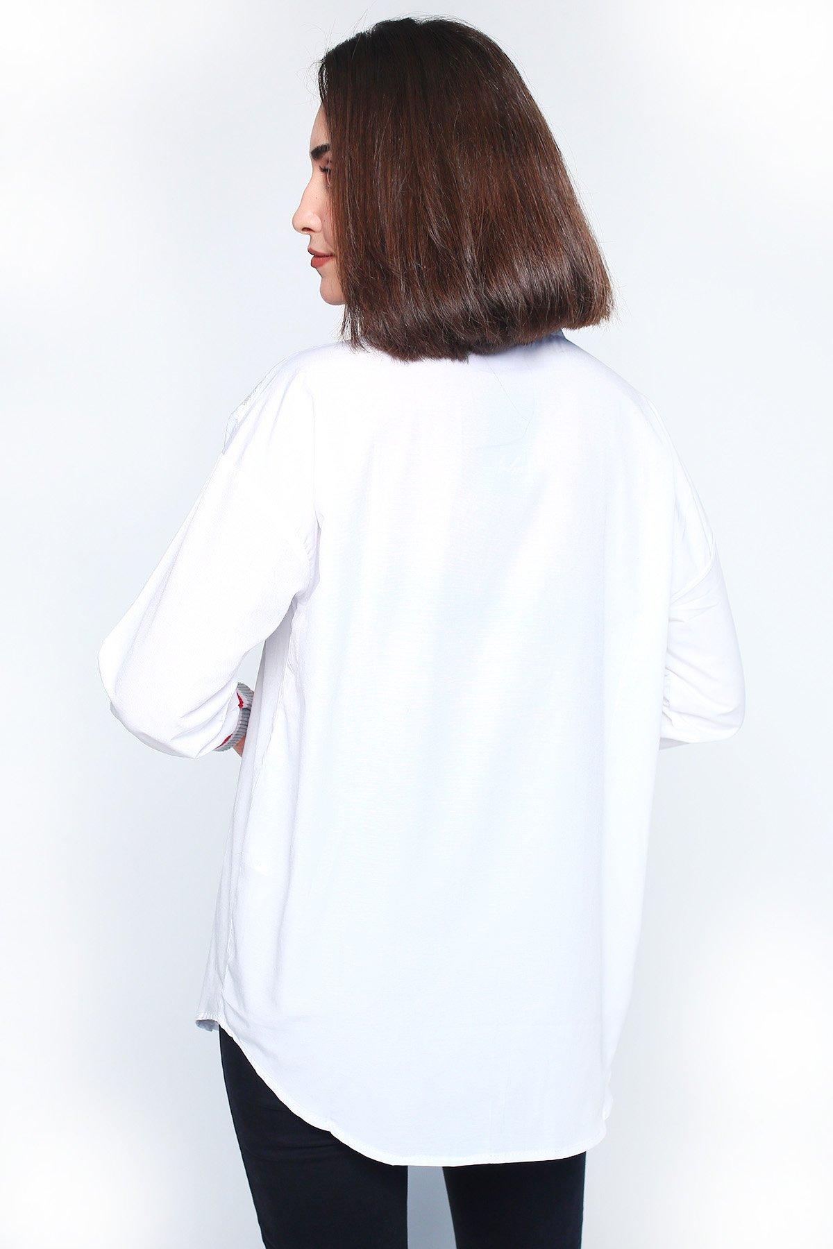 Triko Detaylı  Gömlek