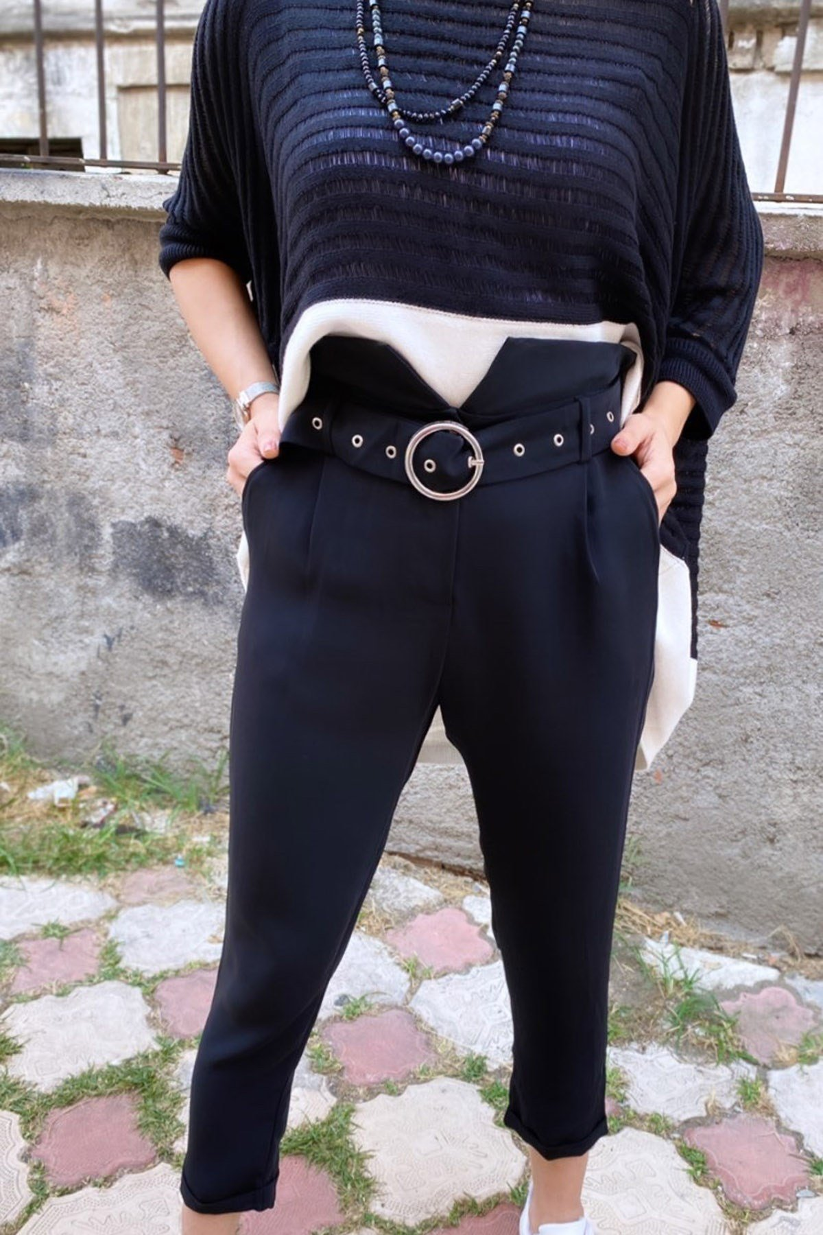 Yüksek Bel Kemerli Pantolon