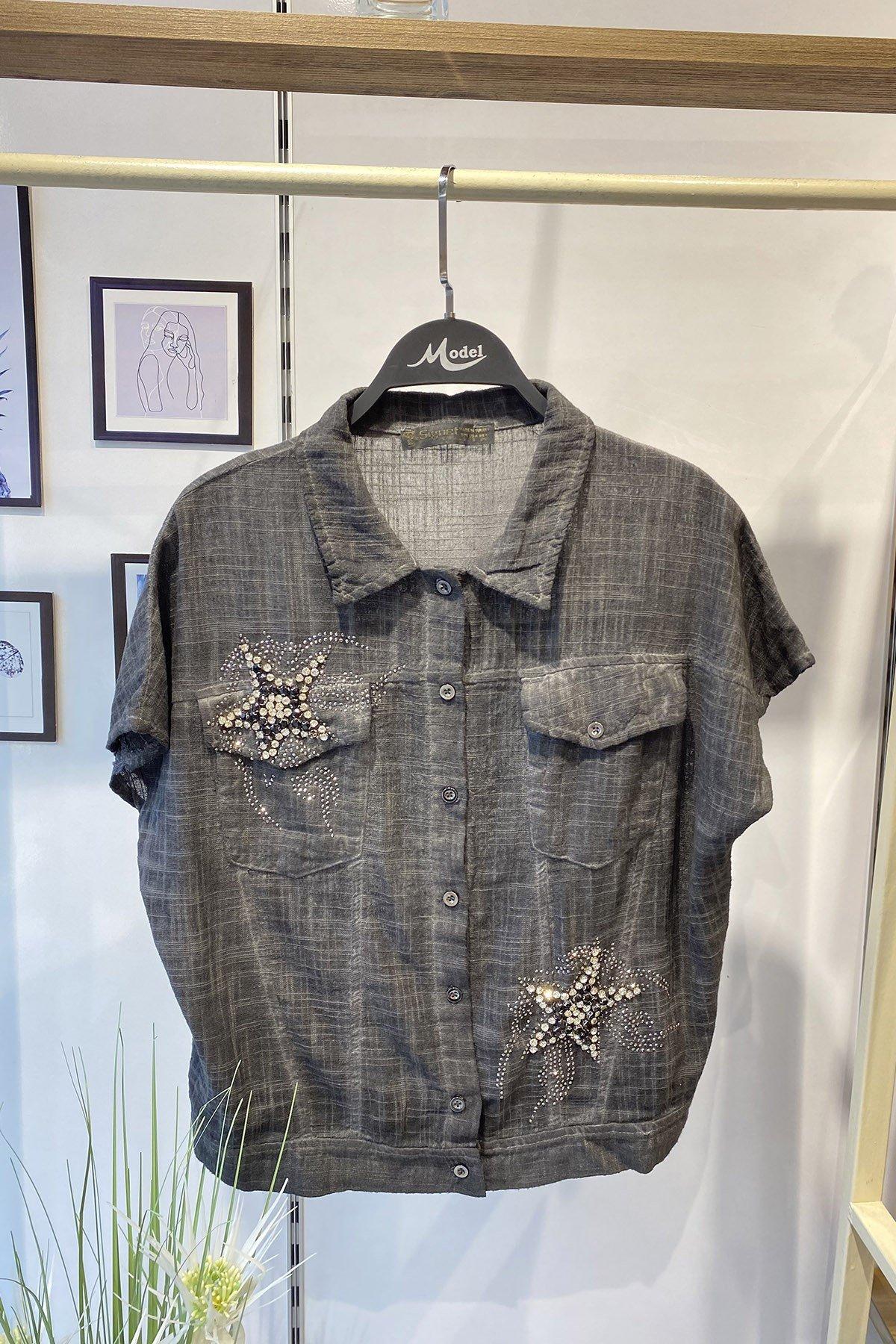 Taşlı Cepli Gömlek