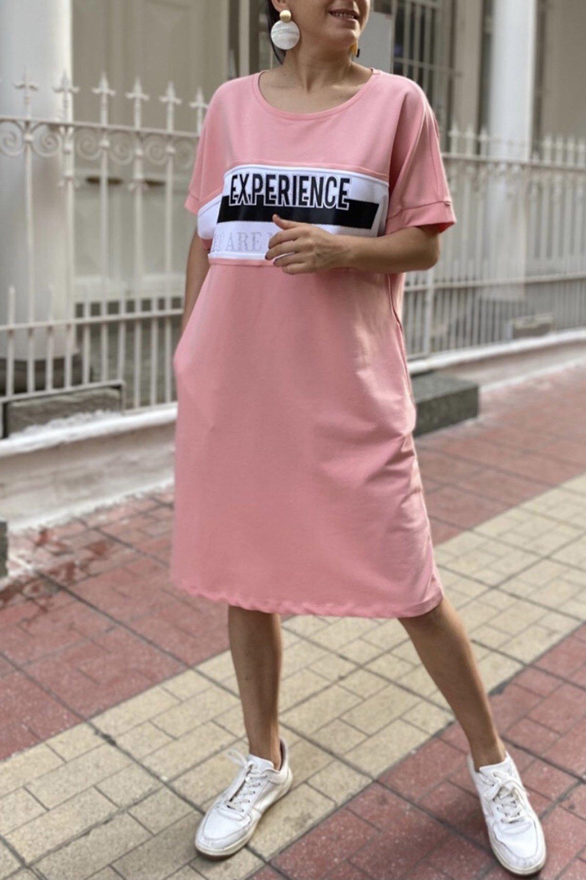Önü Baskılı Kısa Kol Elbise
