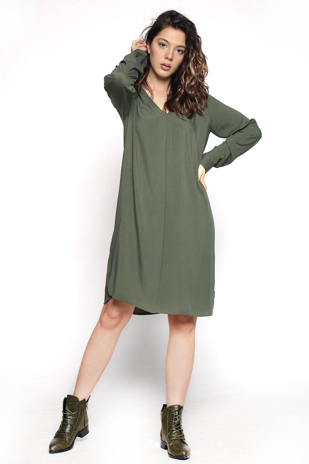 Yan Yırtmaçlı Piliseli  Gömlek Elbise