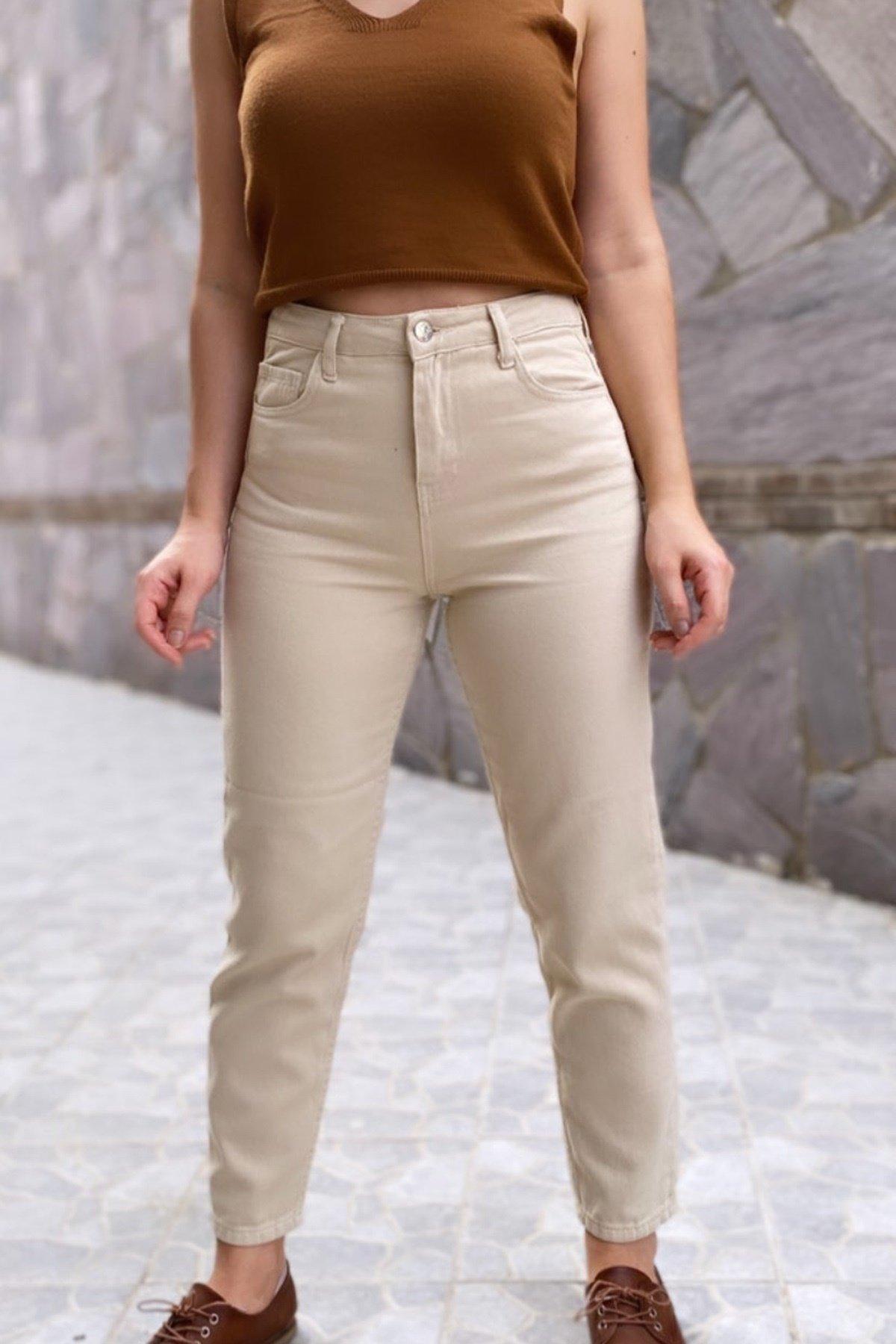 Tek Düğmeli Cepli Pantolon