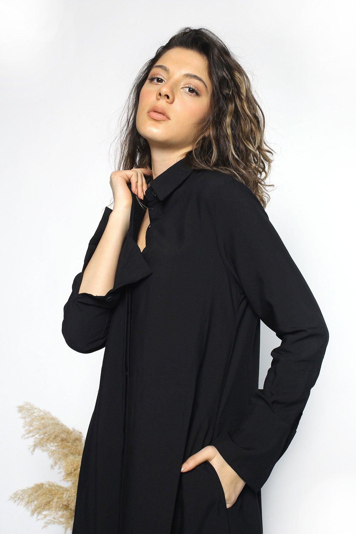 Yan Yırtmaçlı  Gömlek Elbise