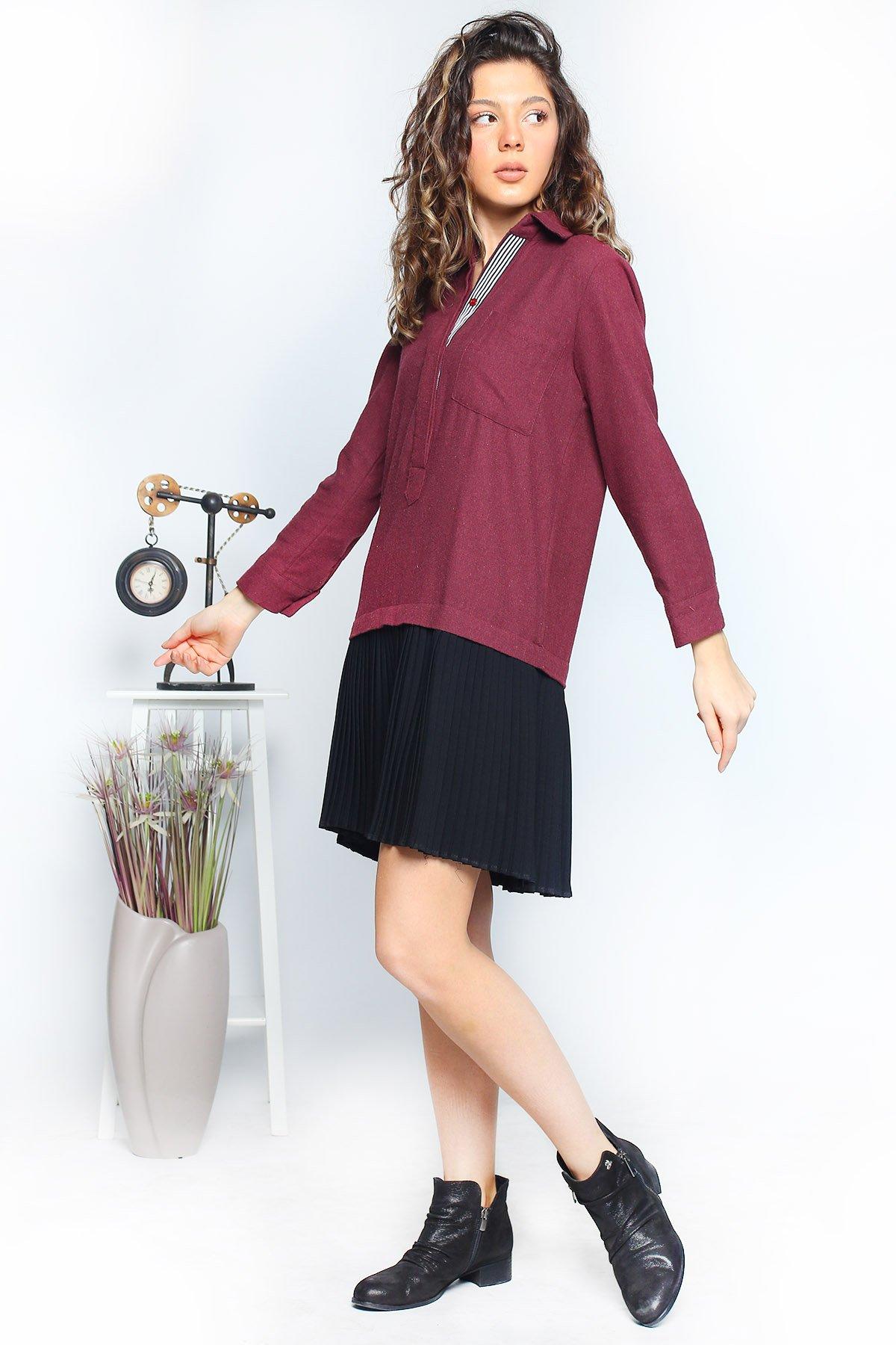 Alt Piliseli Yaka Düğmeli  Elbise
