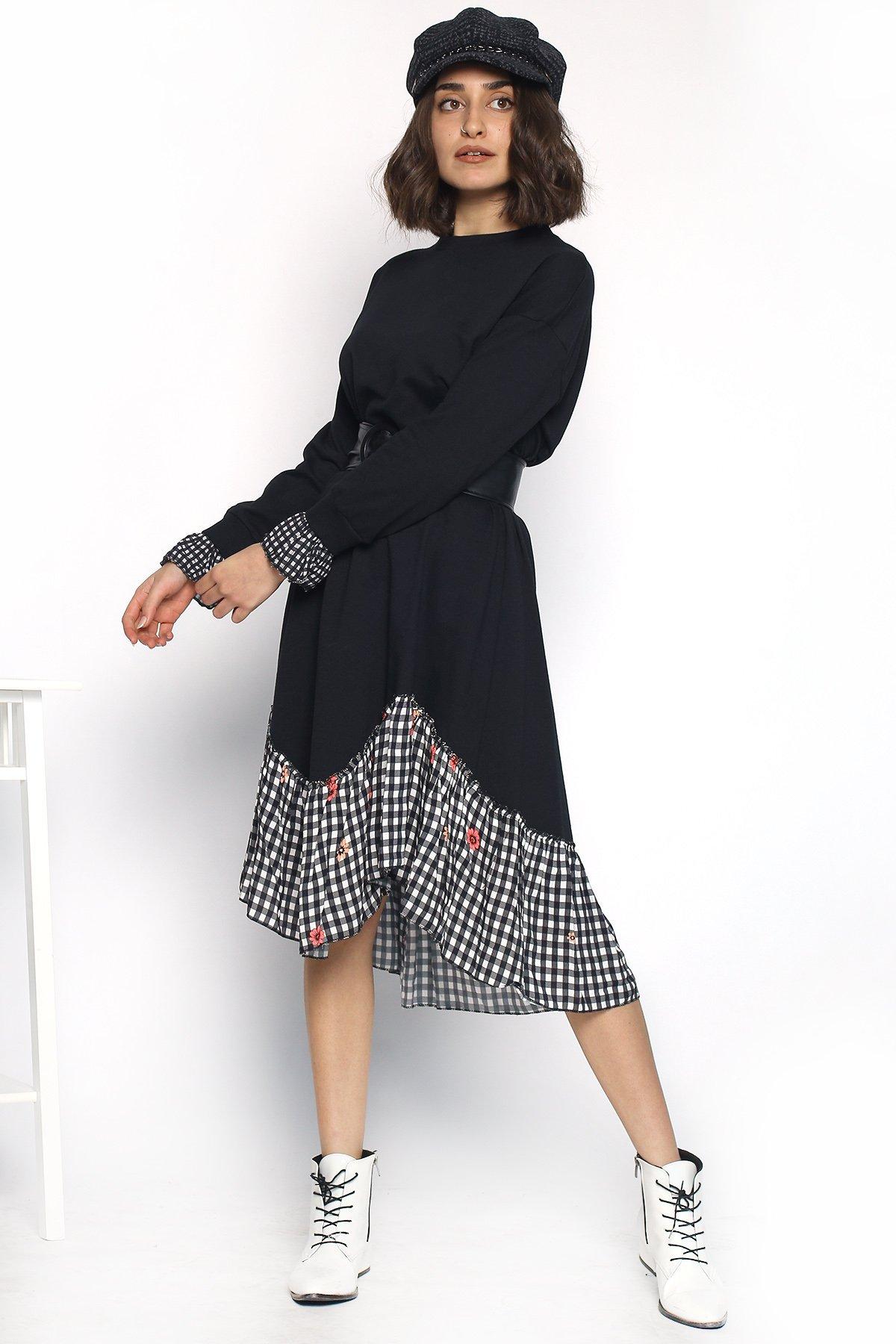 Kol Ve Etek Ucu Desenli  Elbise