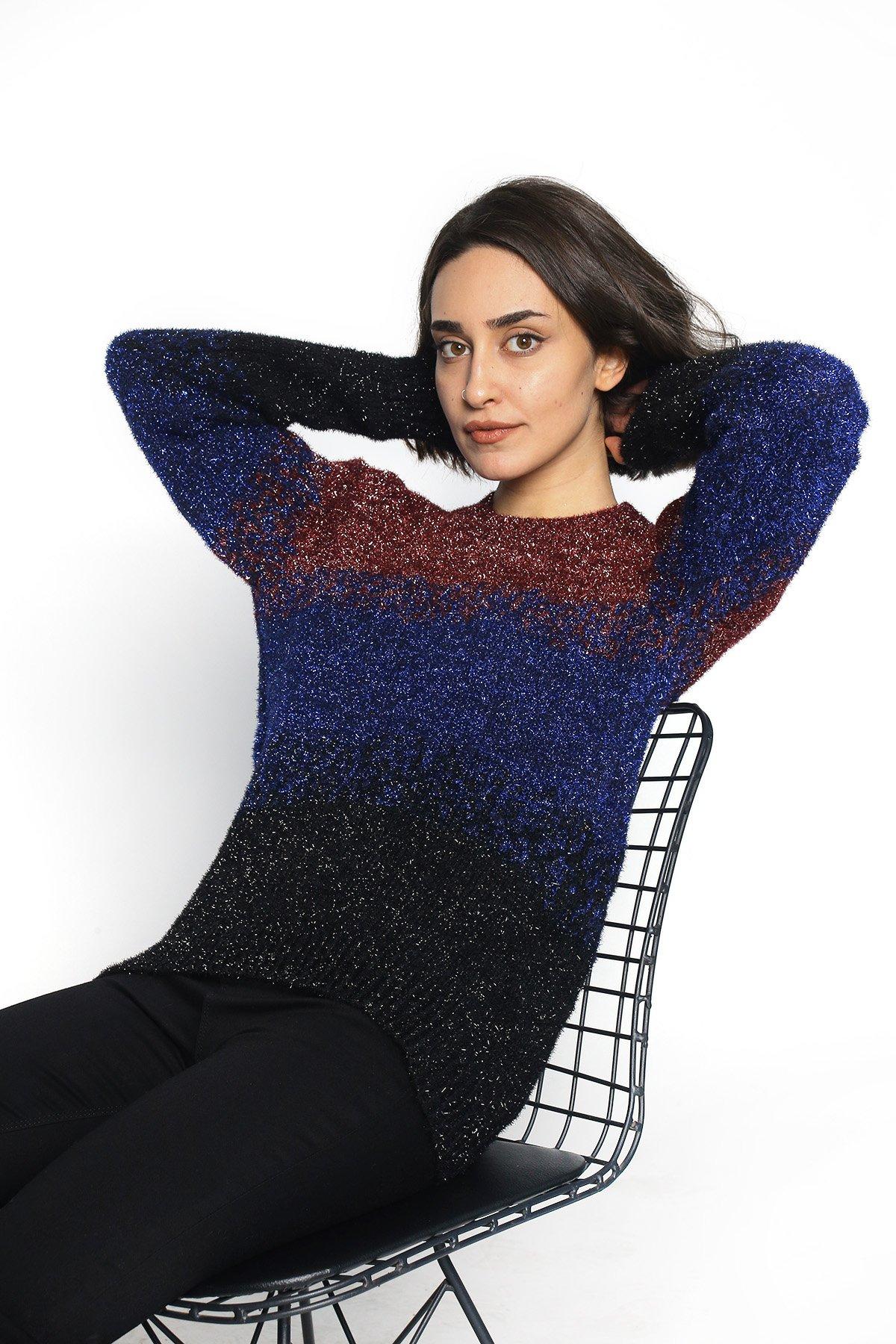 Simli Üç Renk Triko Bluz
