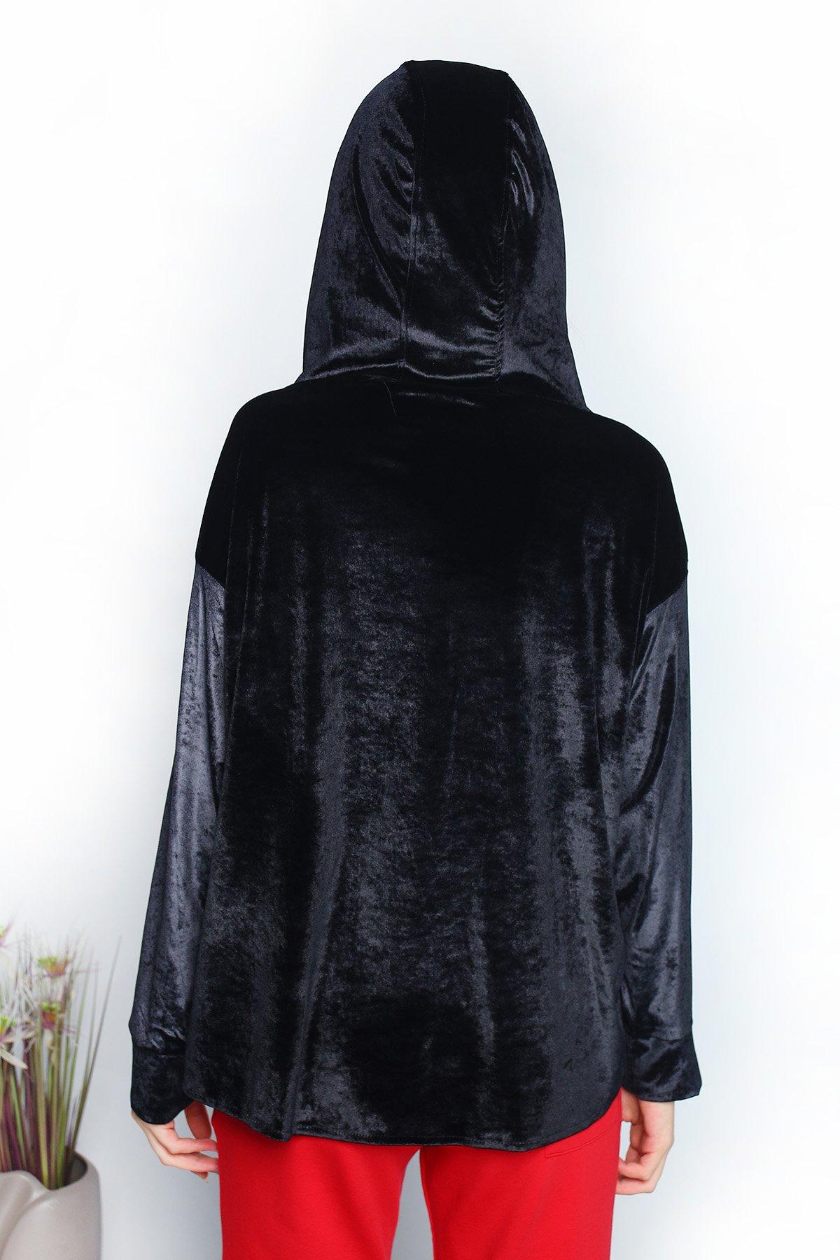Kadife Kapşonlu Bluz