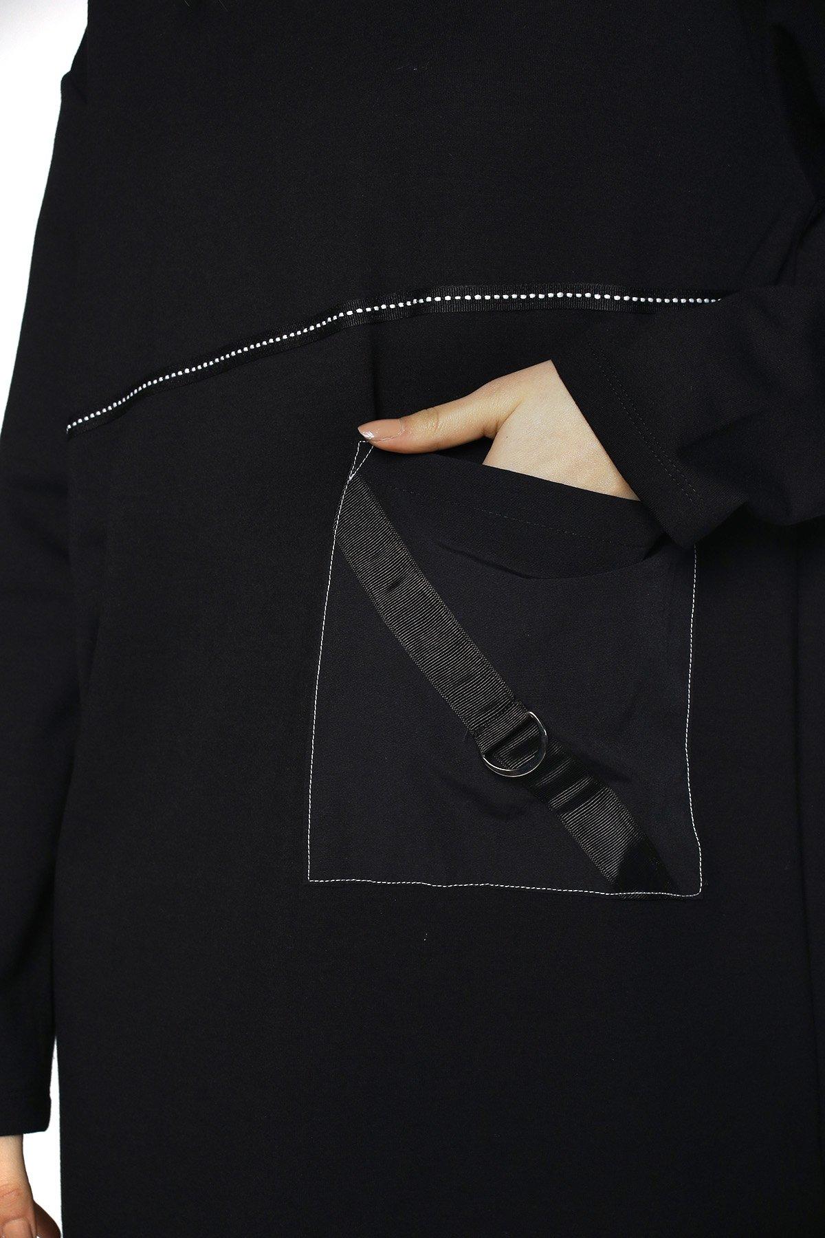 Ön Şerit Cepli Elbise
