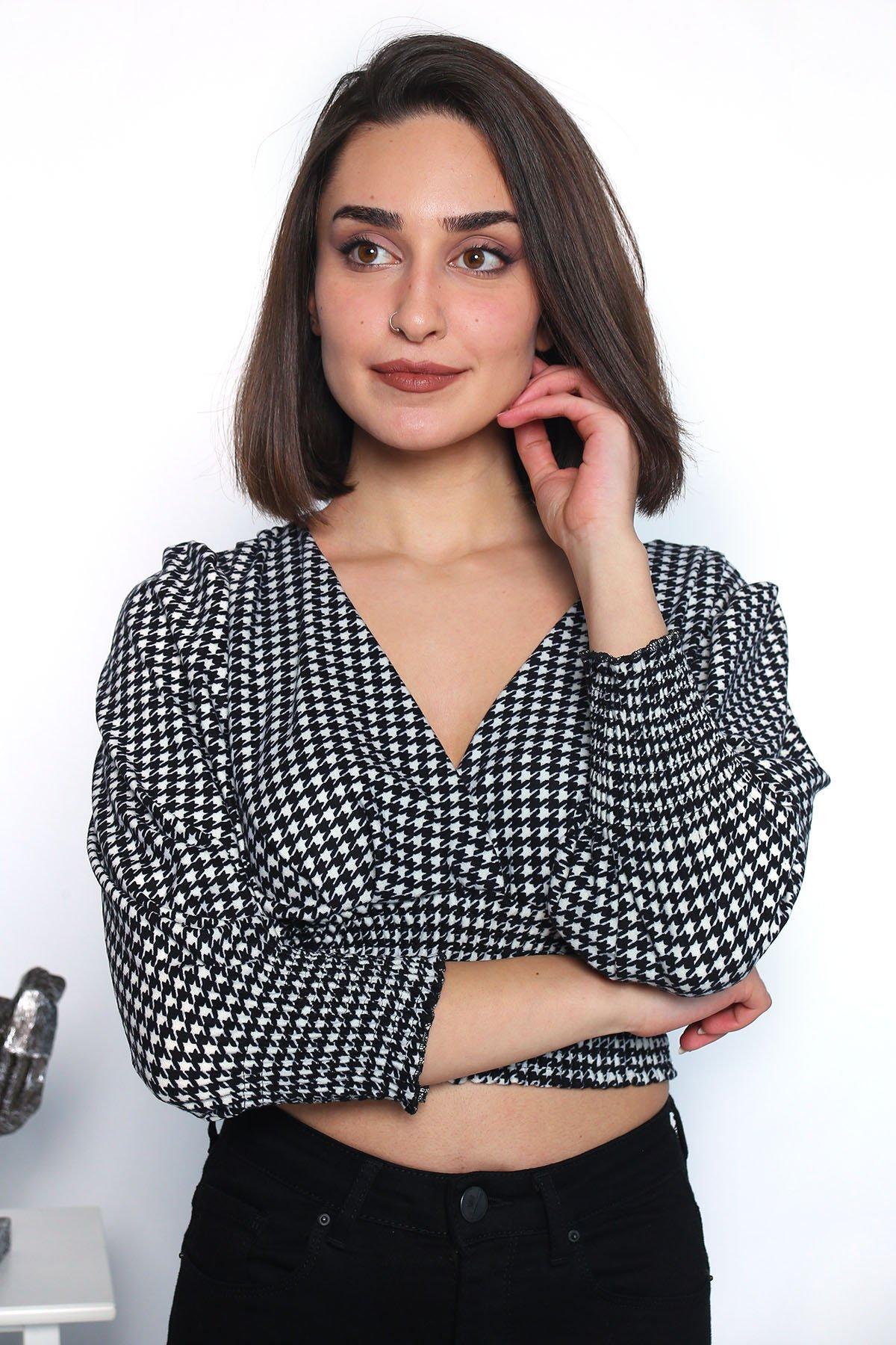 Kruvaze Yaka Lastikli  Bluz
