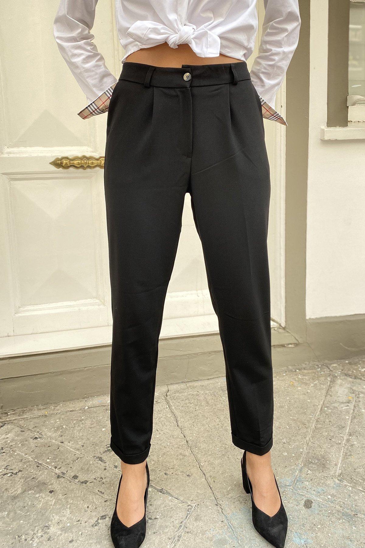 Tek Düğmeli Yüksek Bel Düz Pantolon