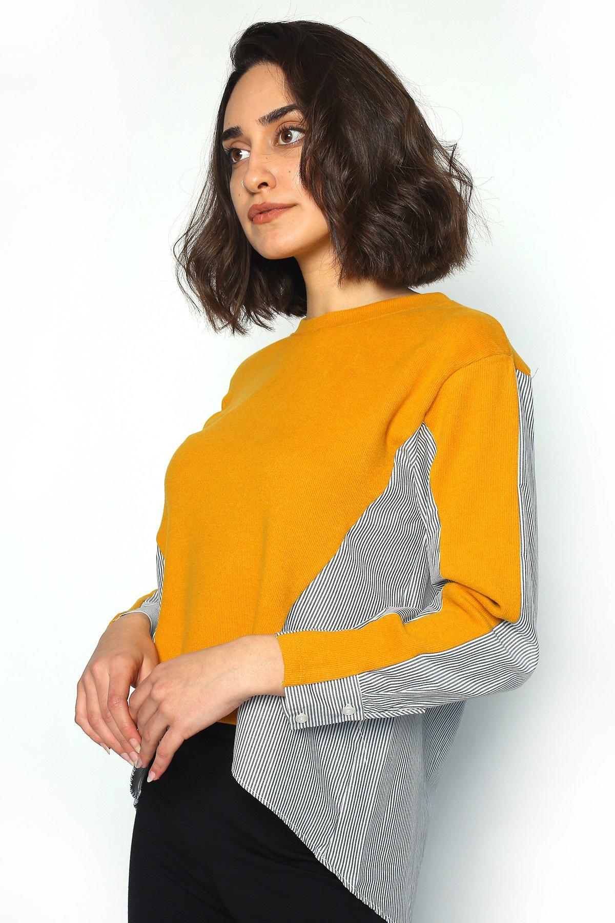 Çizgi Detay Arka Uzun Bluz