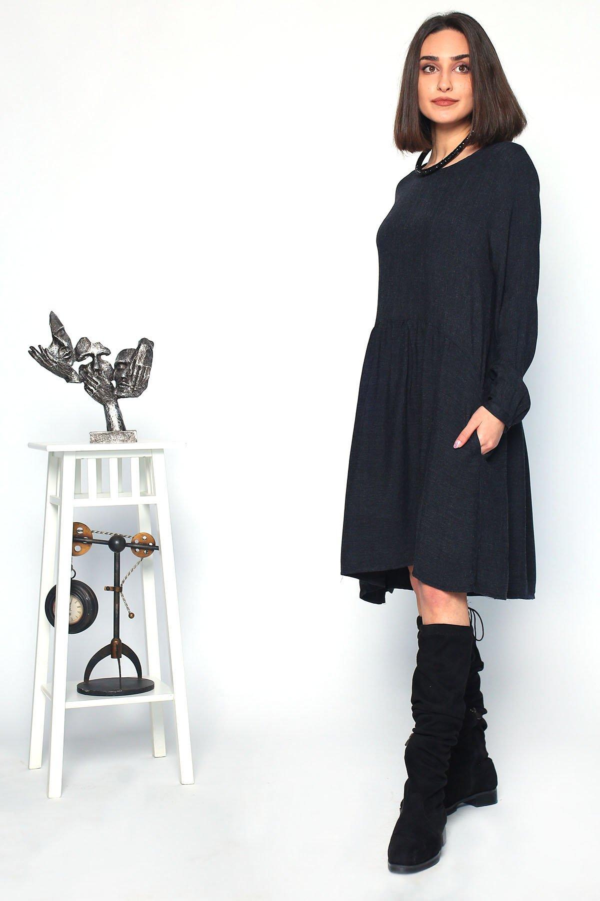 Uzun Kollu  Volanlı Elbise
