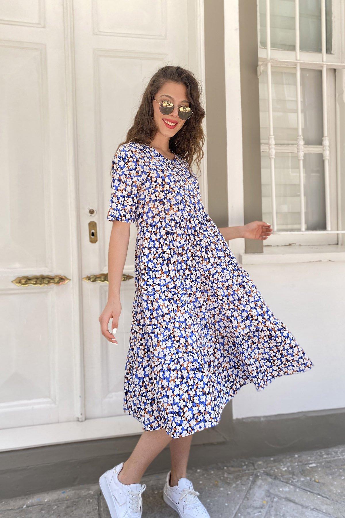 Papatya Desen Uzun Kol  Elbise