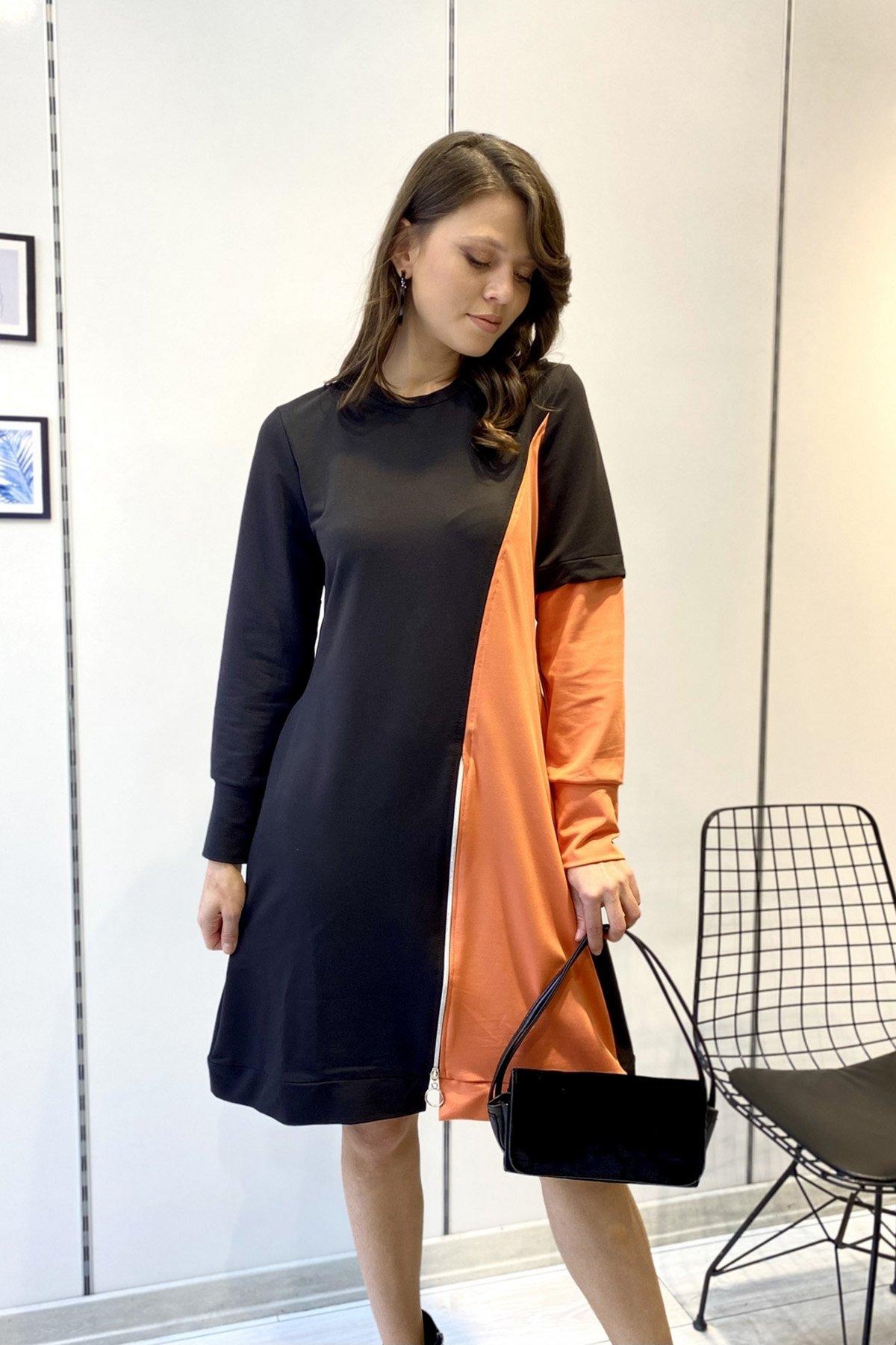 Fermuar Detaylı Çift Renk Elbise