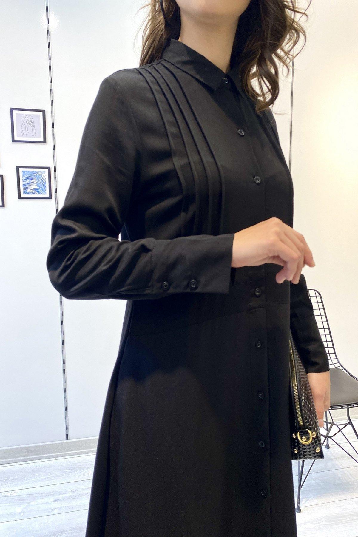 Ön Düğmeli Piliseli  Gömlek Elbise