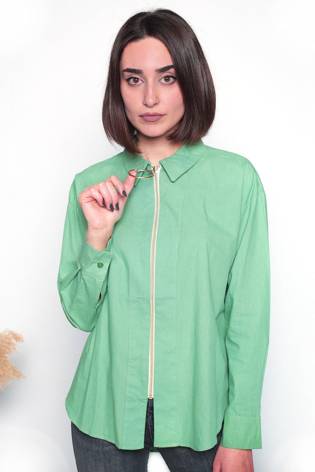 Fermuar Detaylı Uzun Kol Gömlek
