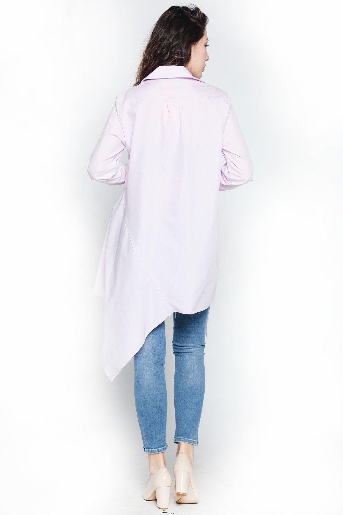Uzun Kollu Asimetrik Gömlek