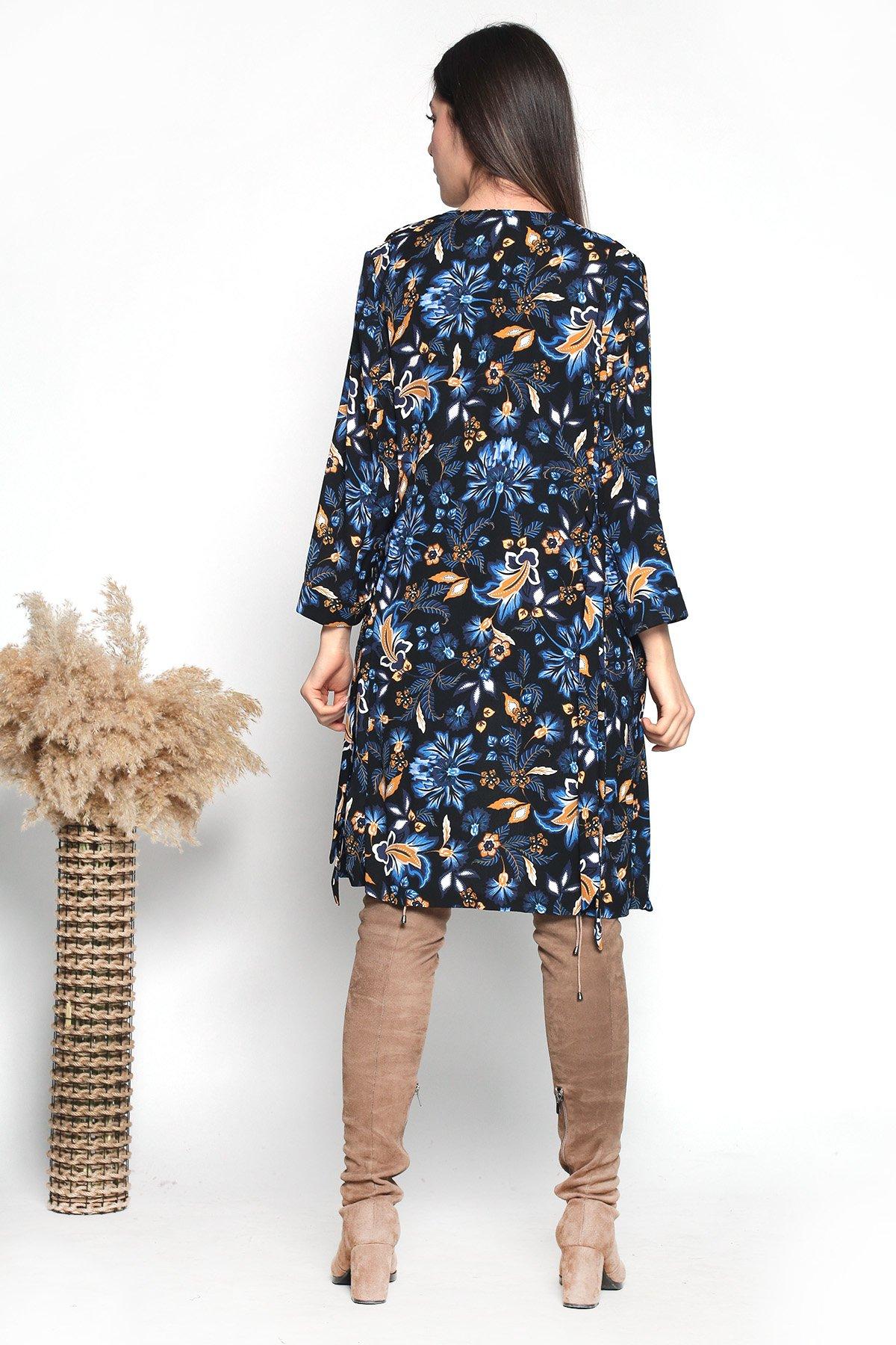 Çiçekli Desenli Kuşaklı Ceket