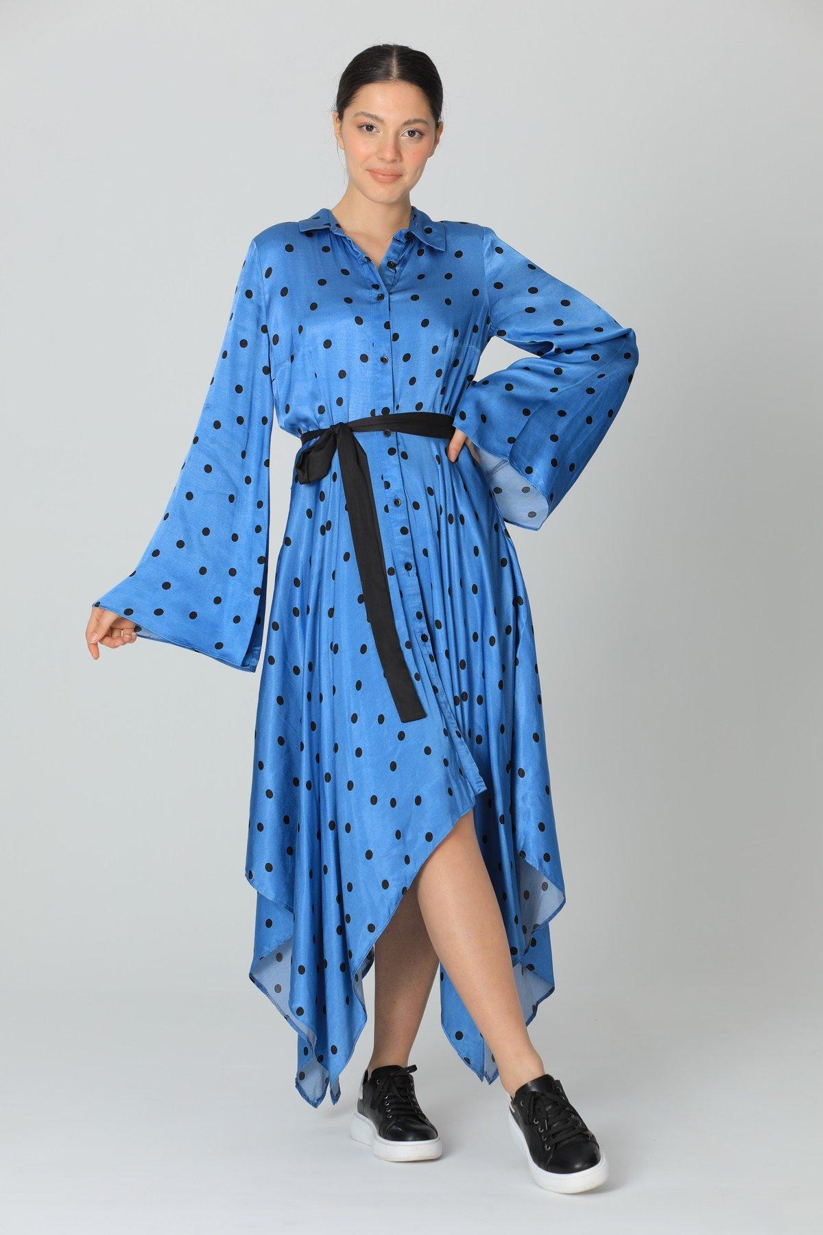 Düğmeli  Asimetrik Elbise