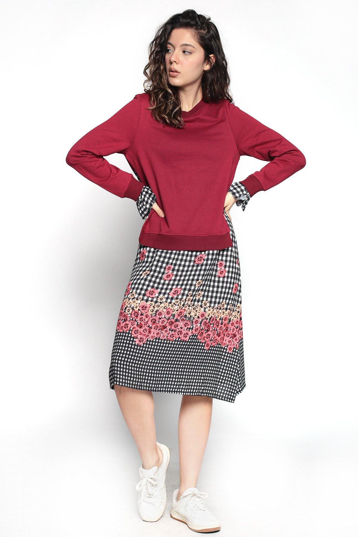 Sweat Detaylı Desenli Elbise