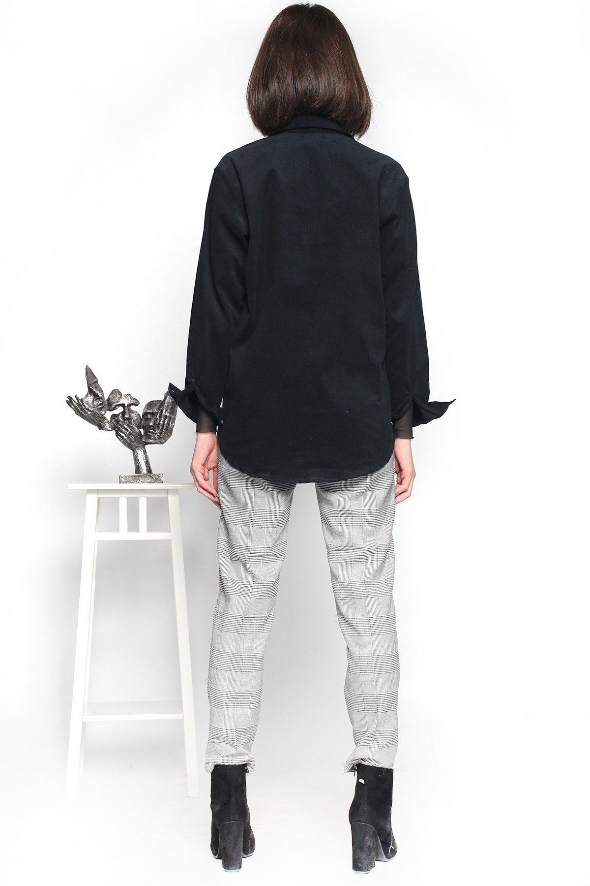 Cepli Boncuk İşlemeli  Kadife Gömlek