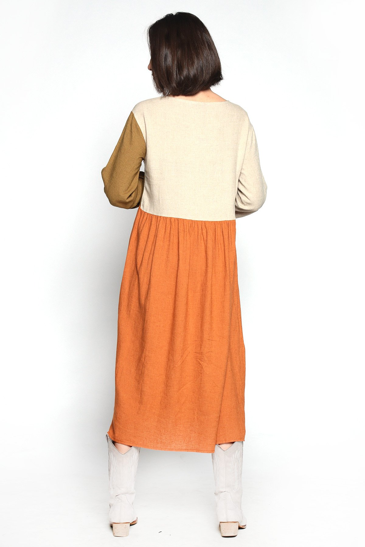 Üç Renk Keten Elbise