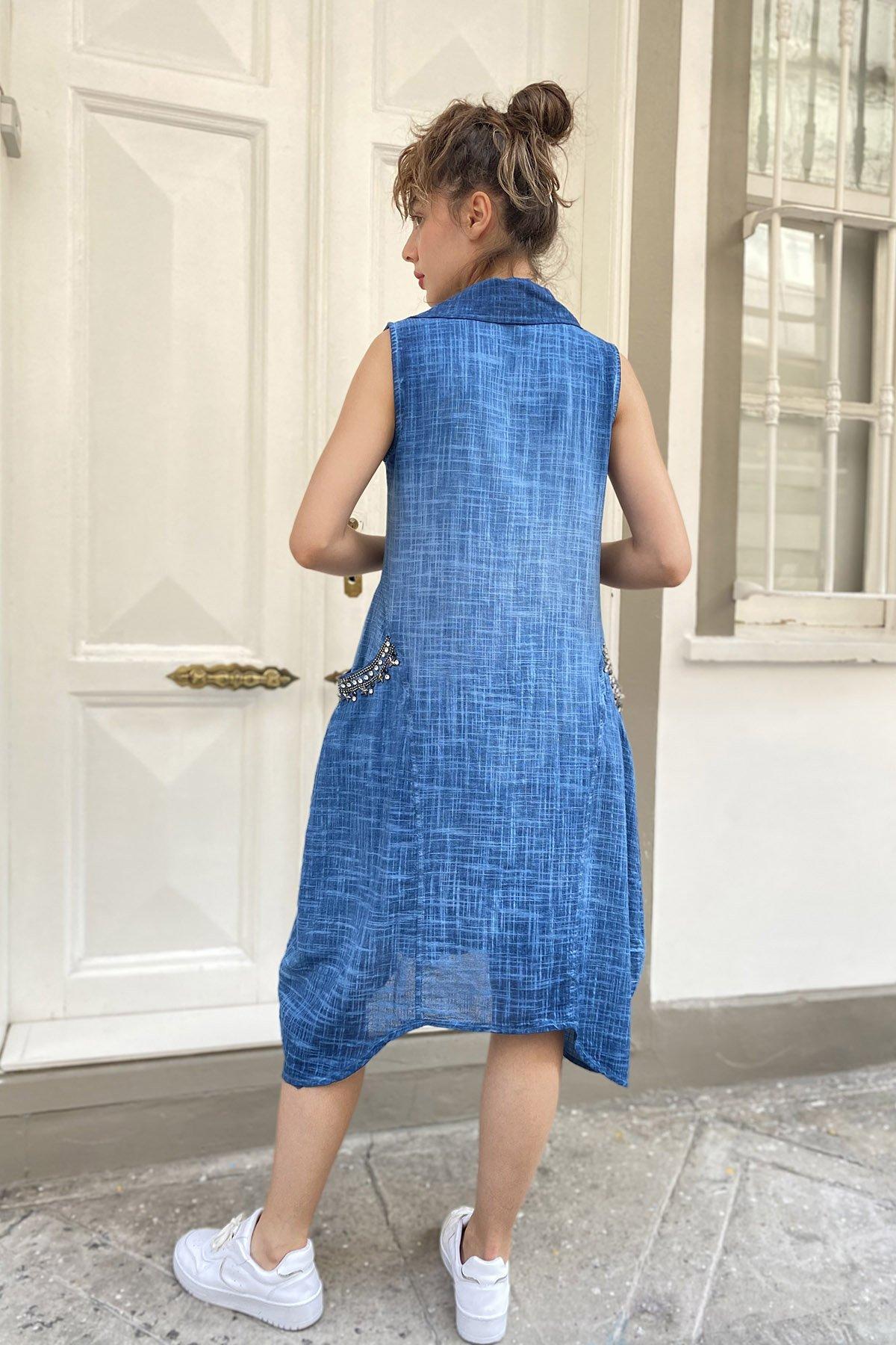 İşlemeli Cepli Elbise