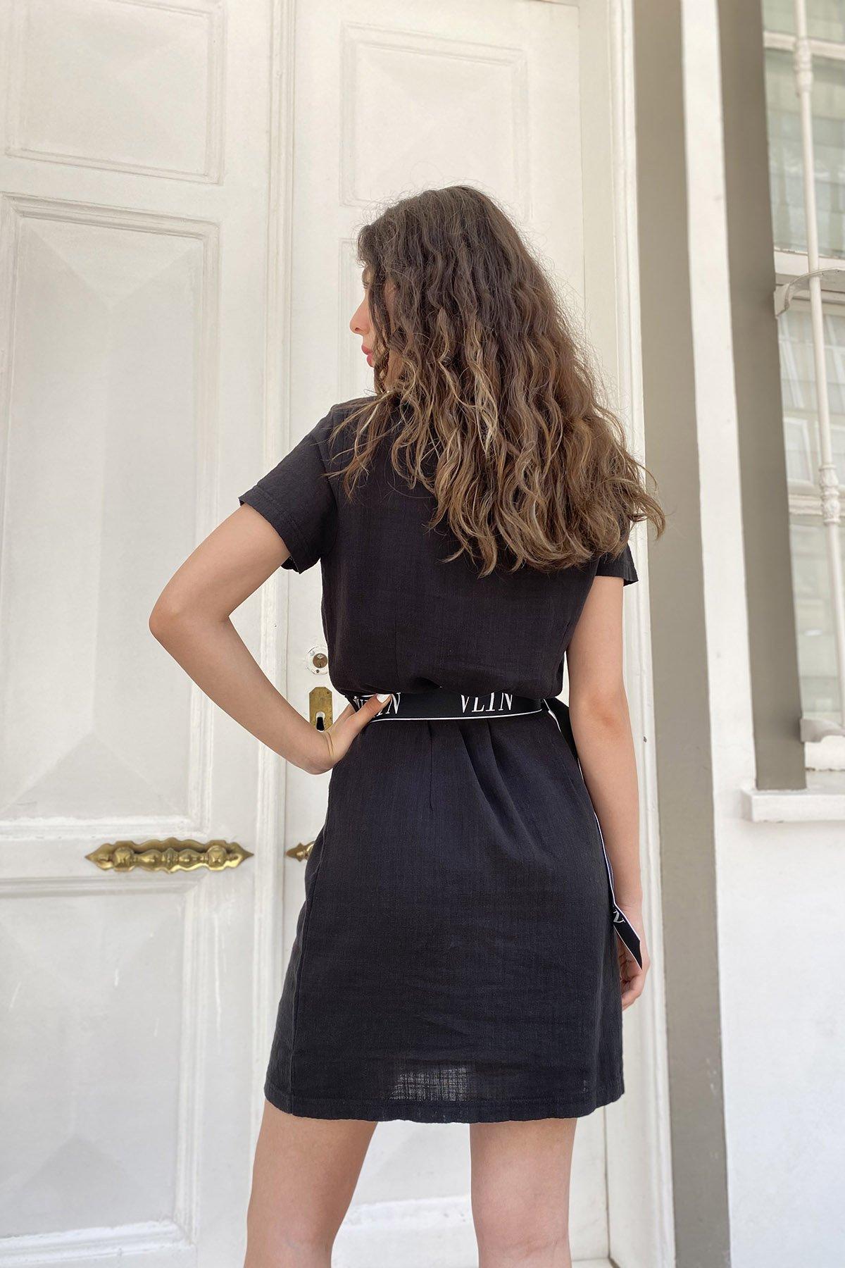Taşlı Kemerli Elbise