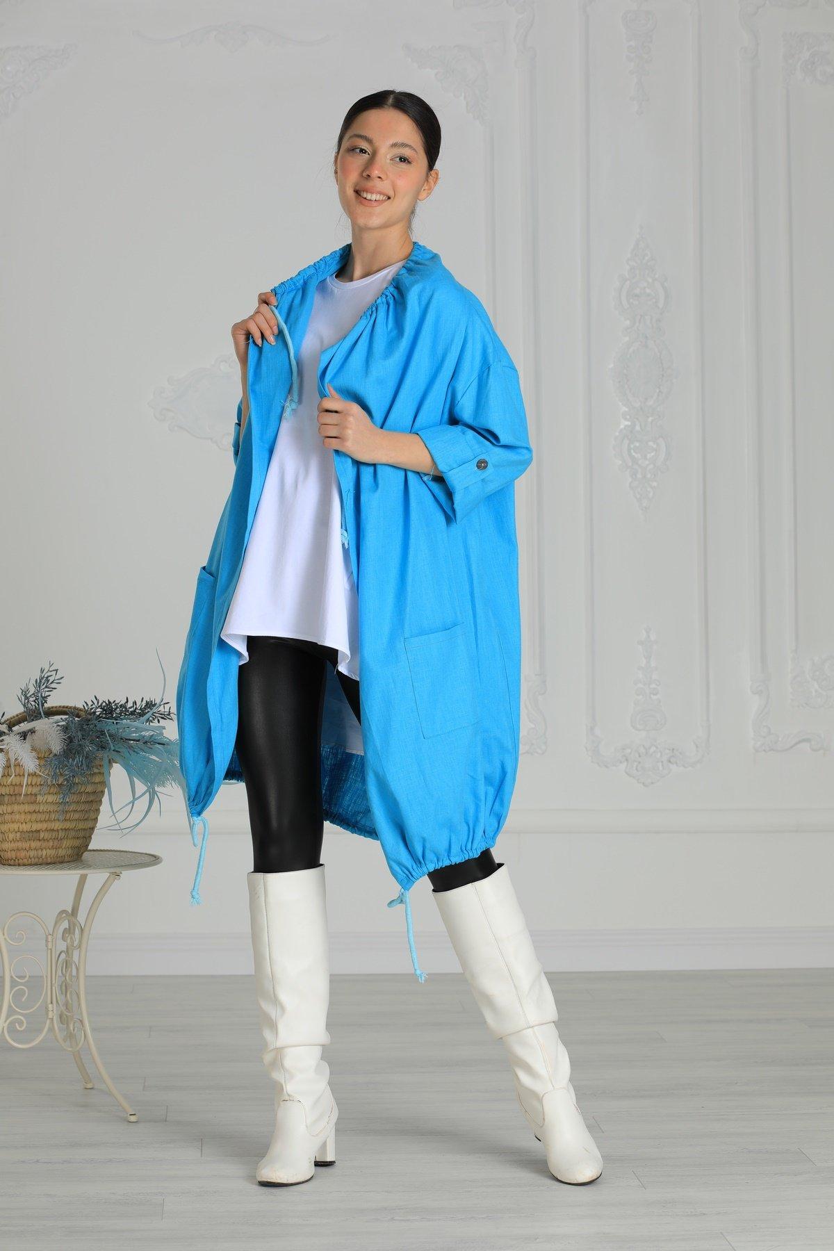 Bağcıklı Keten Ceket