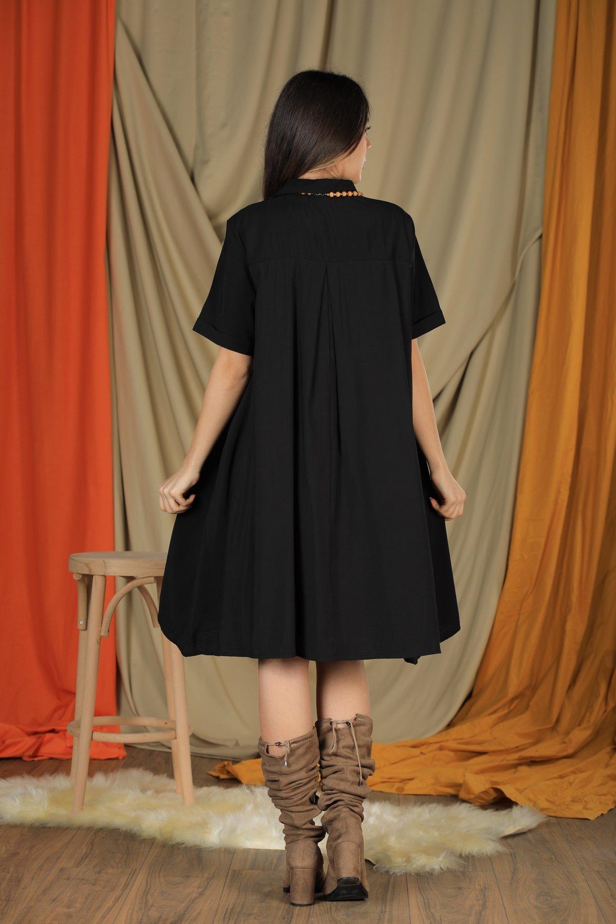 Yaka Düğmeli Kısa Kol Elbise