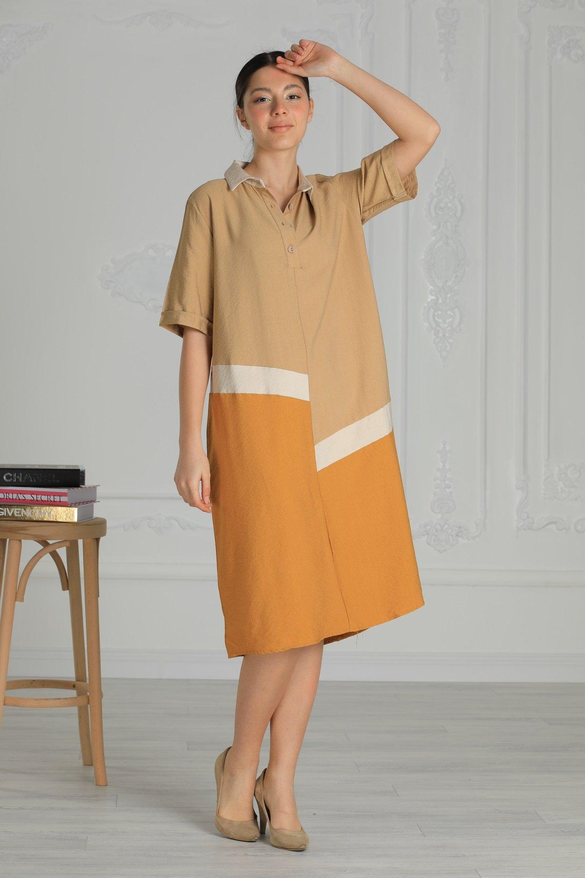 Gömlek Yaka Kısa Kol Elbise