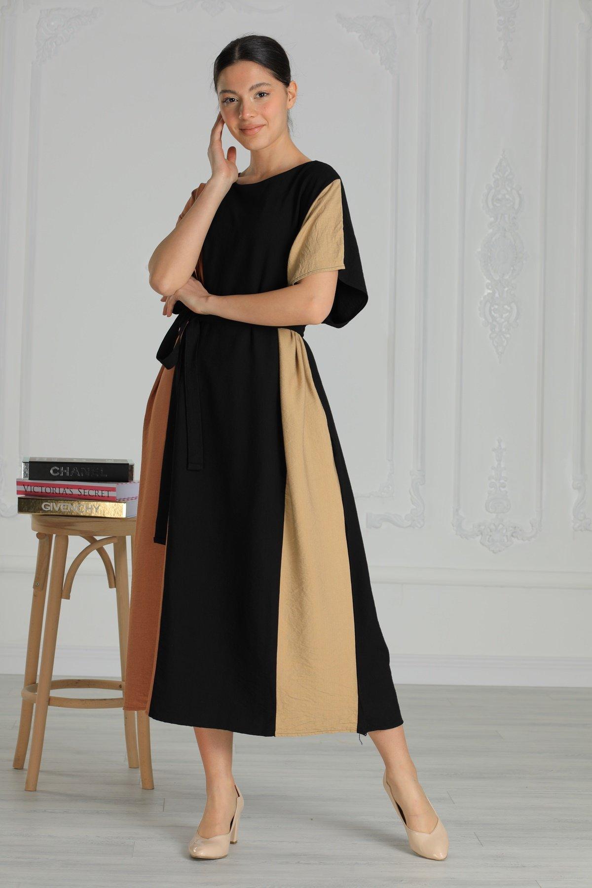 Üç Renk Cepli Kuşaklı Elbise