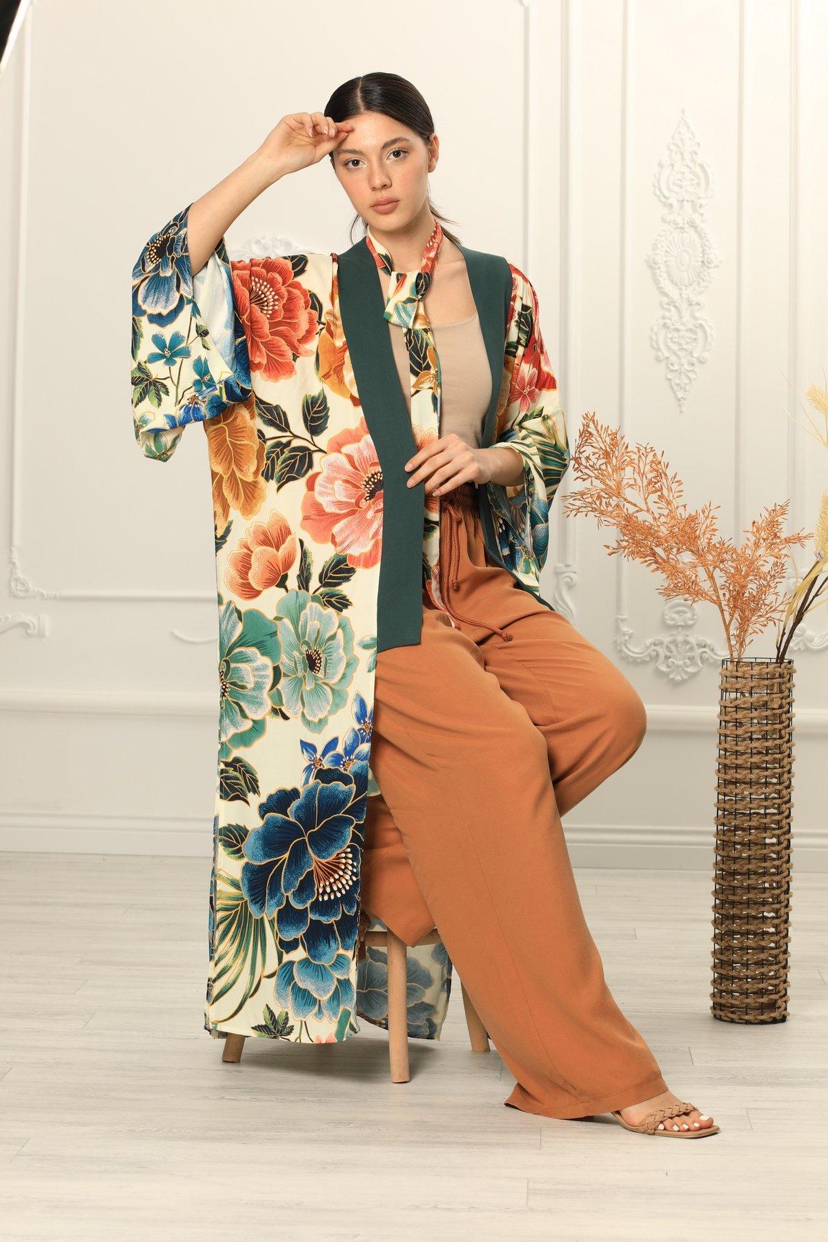 Desenli Bağcıklı Kimono