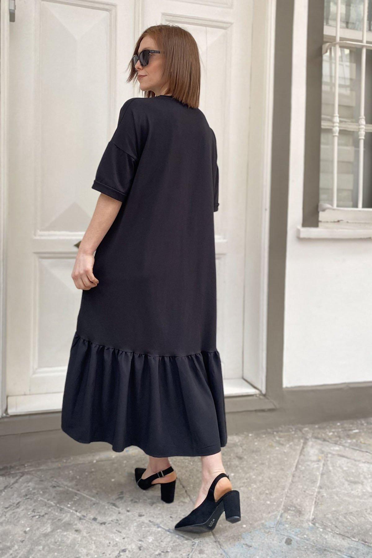 Baskılı Etek Ucu Piliseli Elbise
