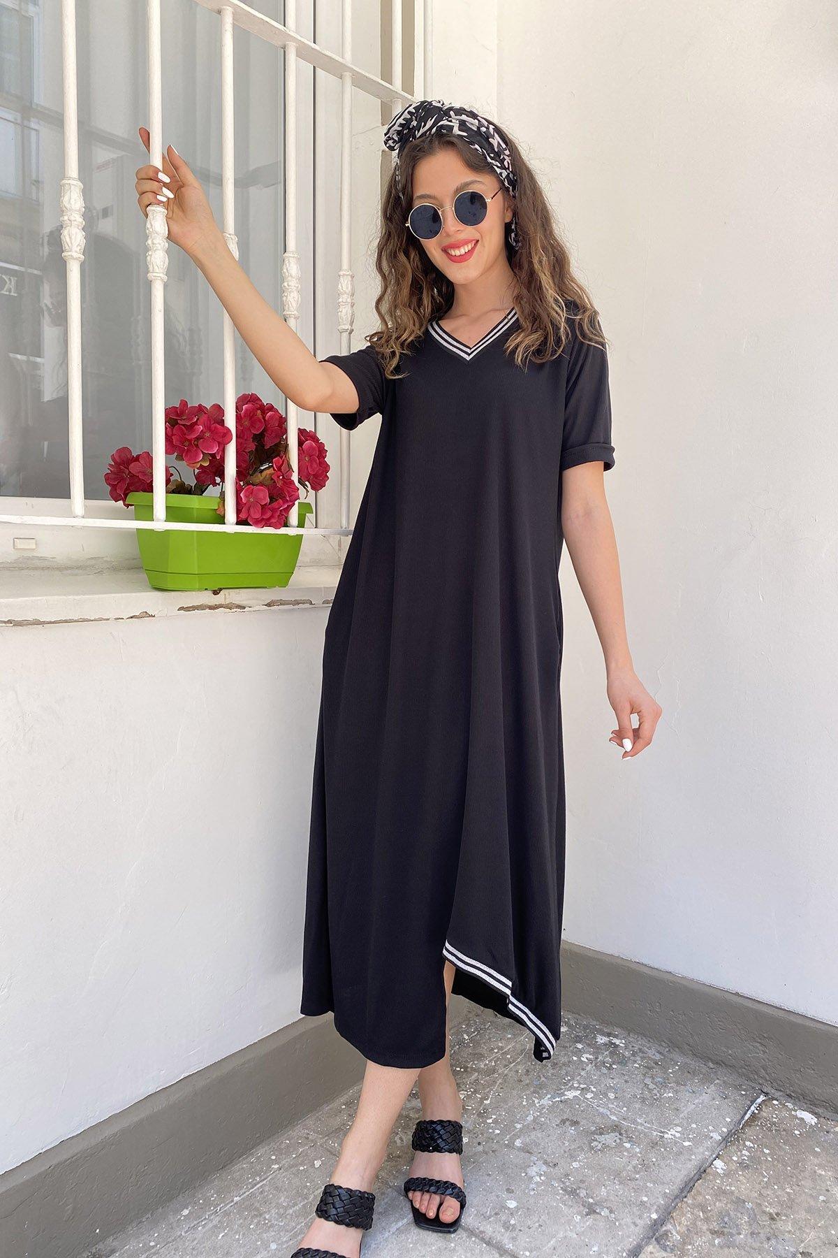 V Yaka Cepli Elbise