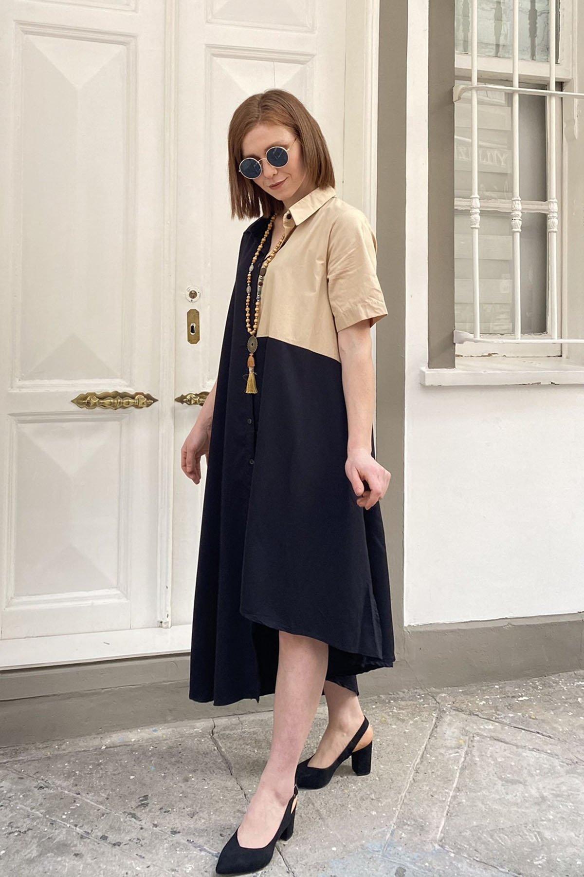 İki Renk Yan Yırtmaçlı Elbise