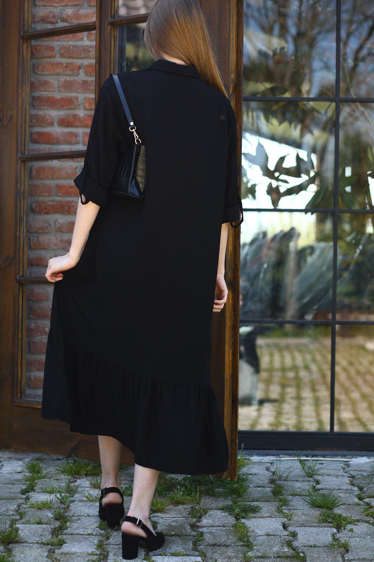 Nakışlı Kol Apoletli Elbise