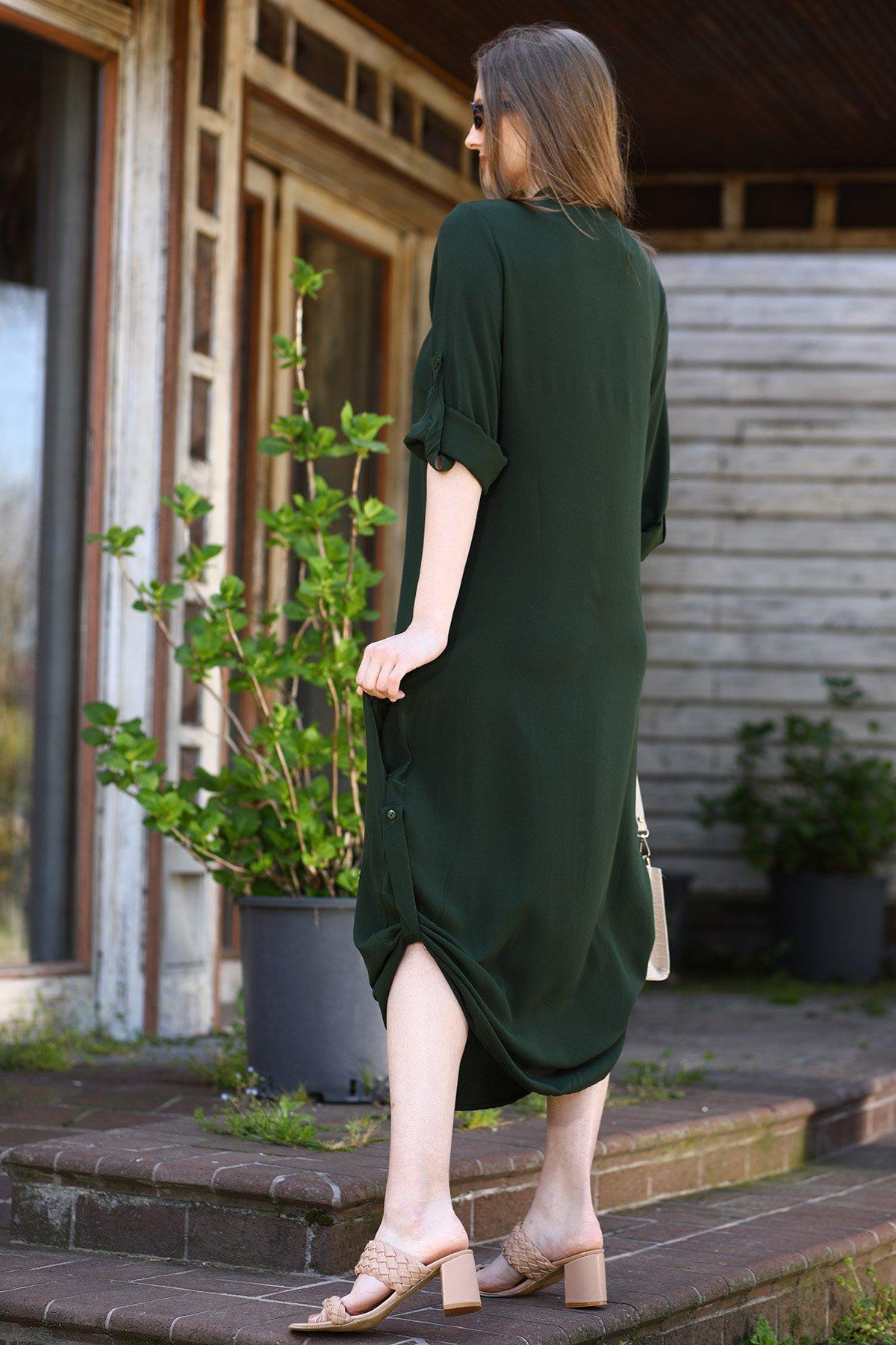 Gömlek Yaka File Detaylı Nakışlı Elbise