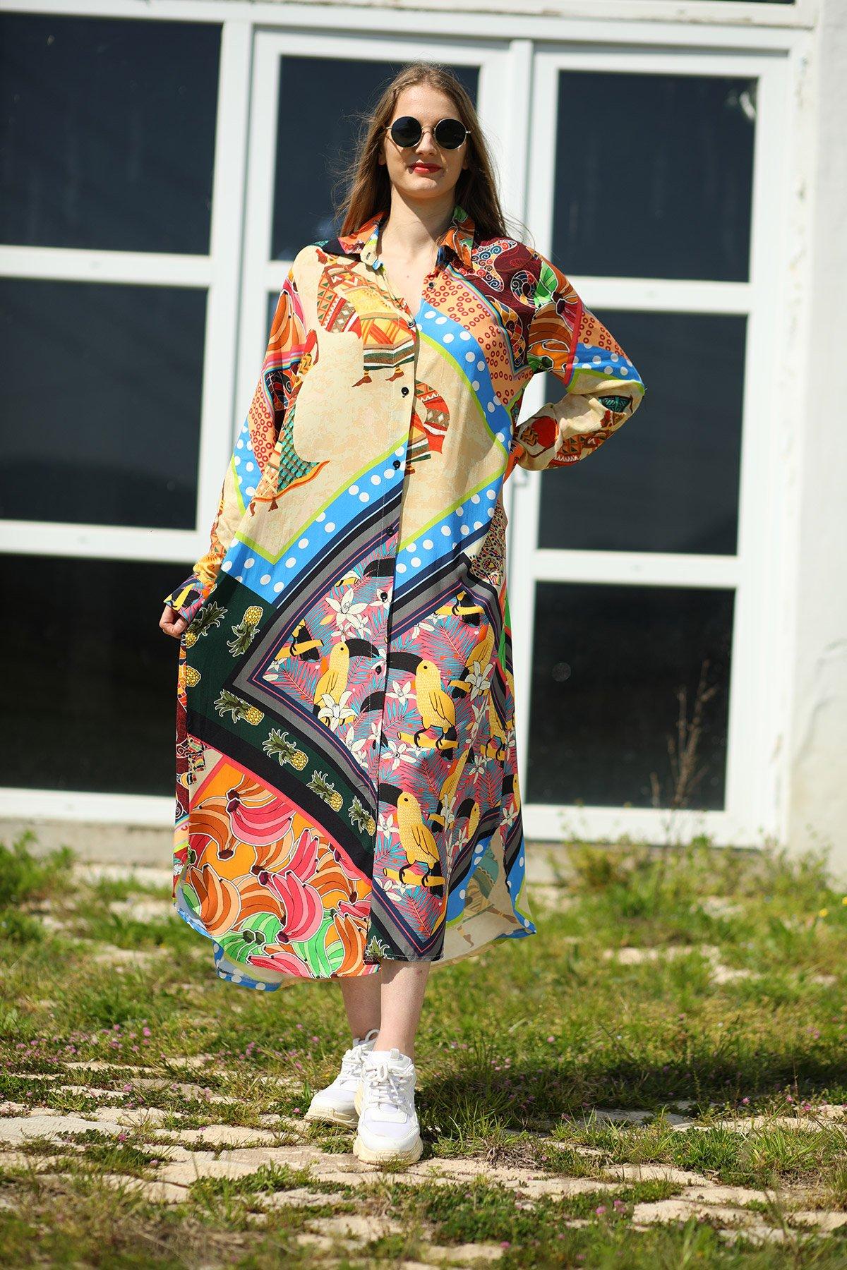 Desenli Cepli Gömlek Elbise