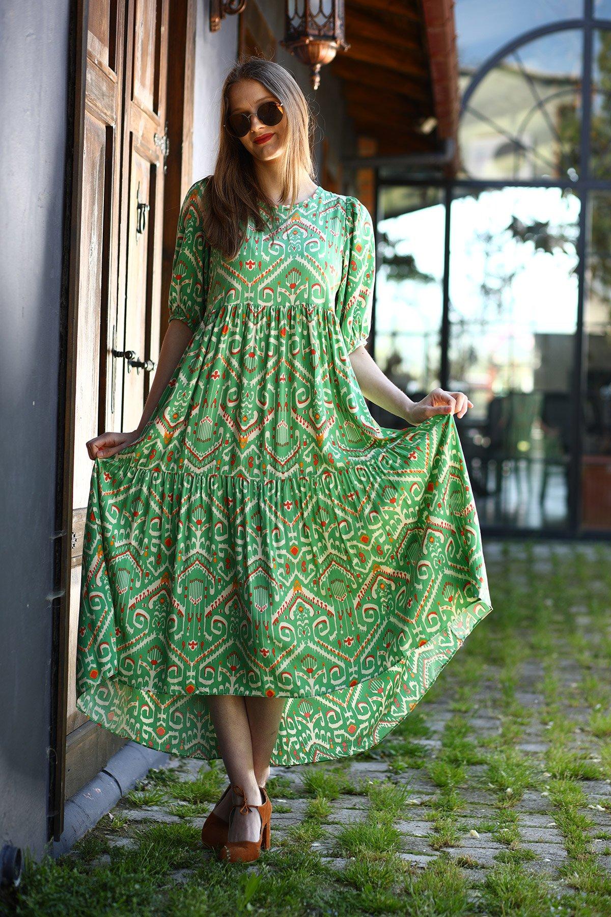 Desenli Kısa Kol Poplin Elbise