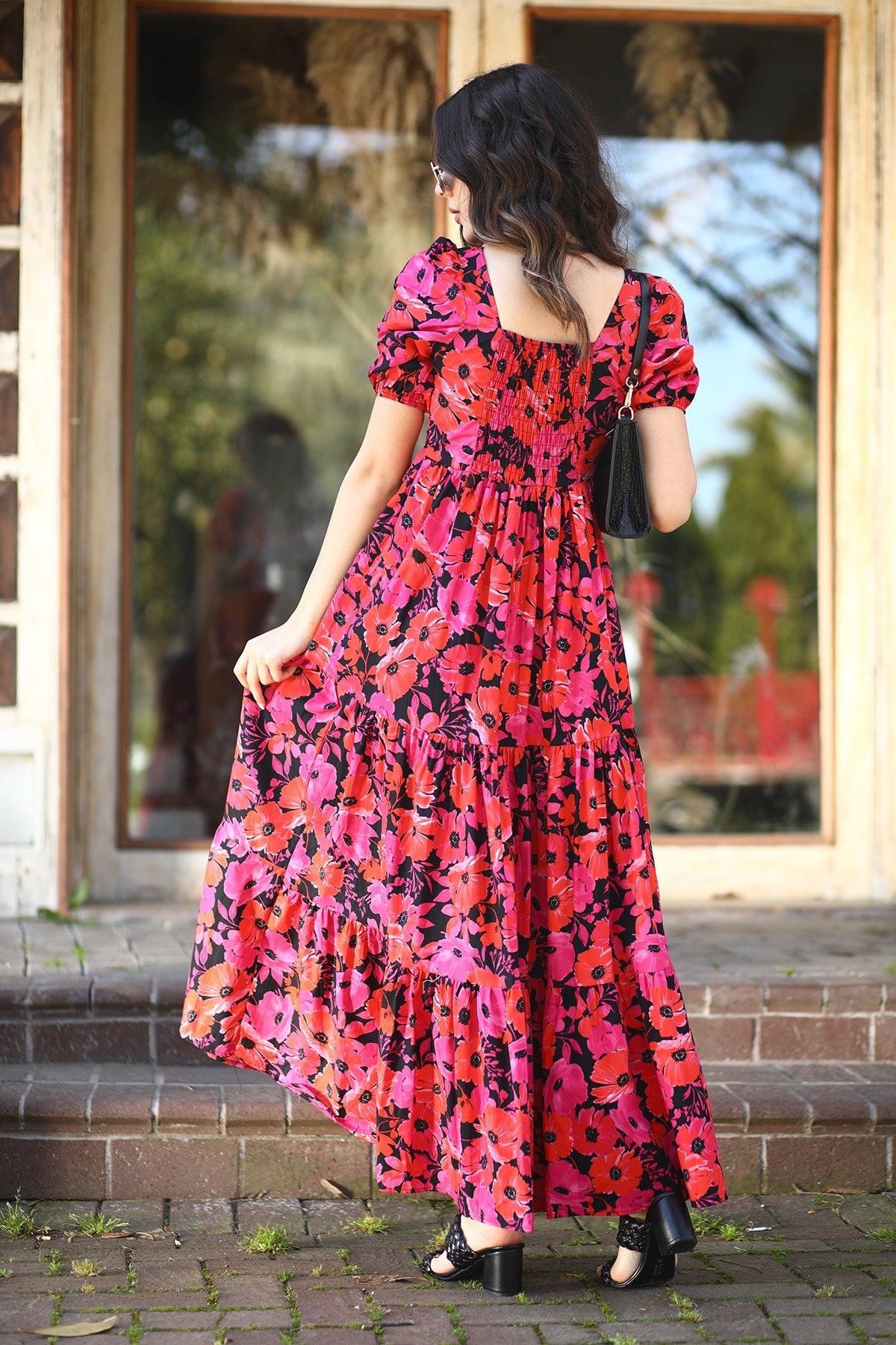 Kol Sırt Lastikli Desenli Elbise