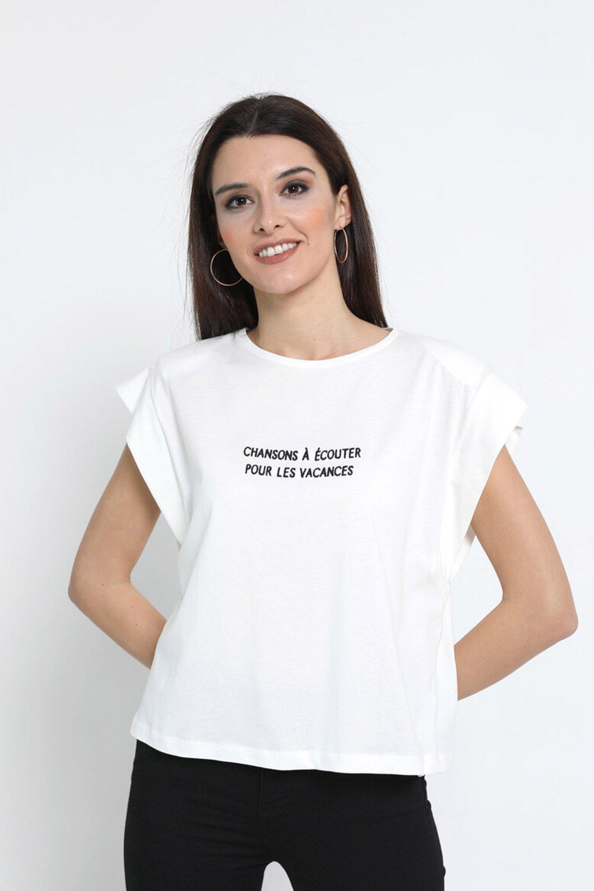 Omuz Vatkalı Baskılı T-shirt